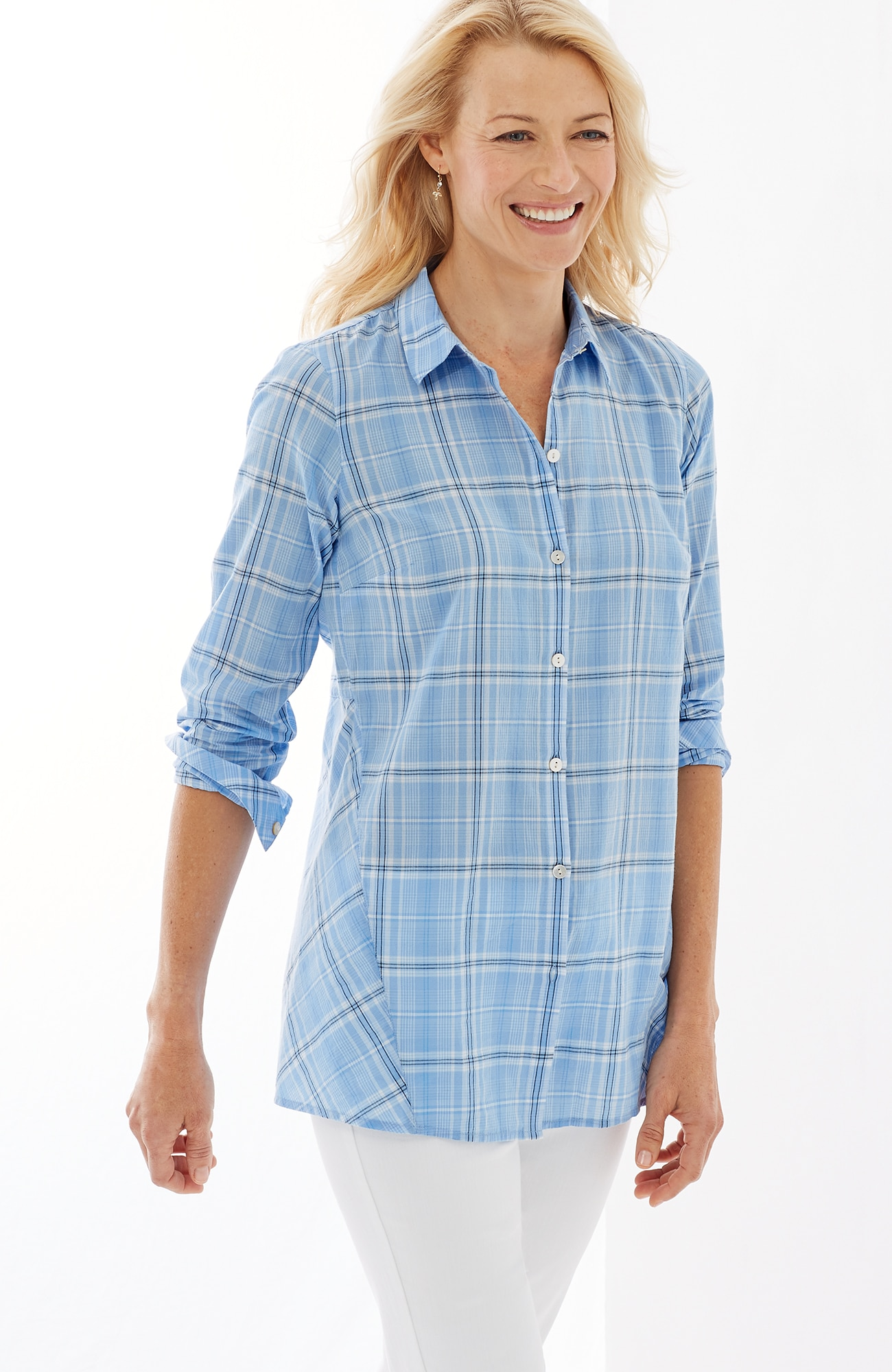 soft plaid button-front shirt