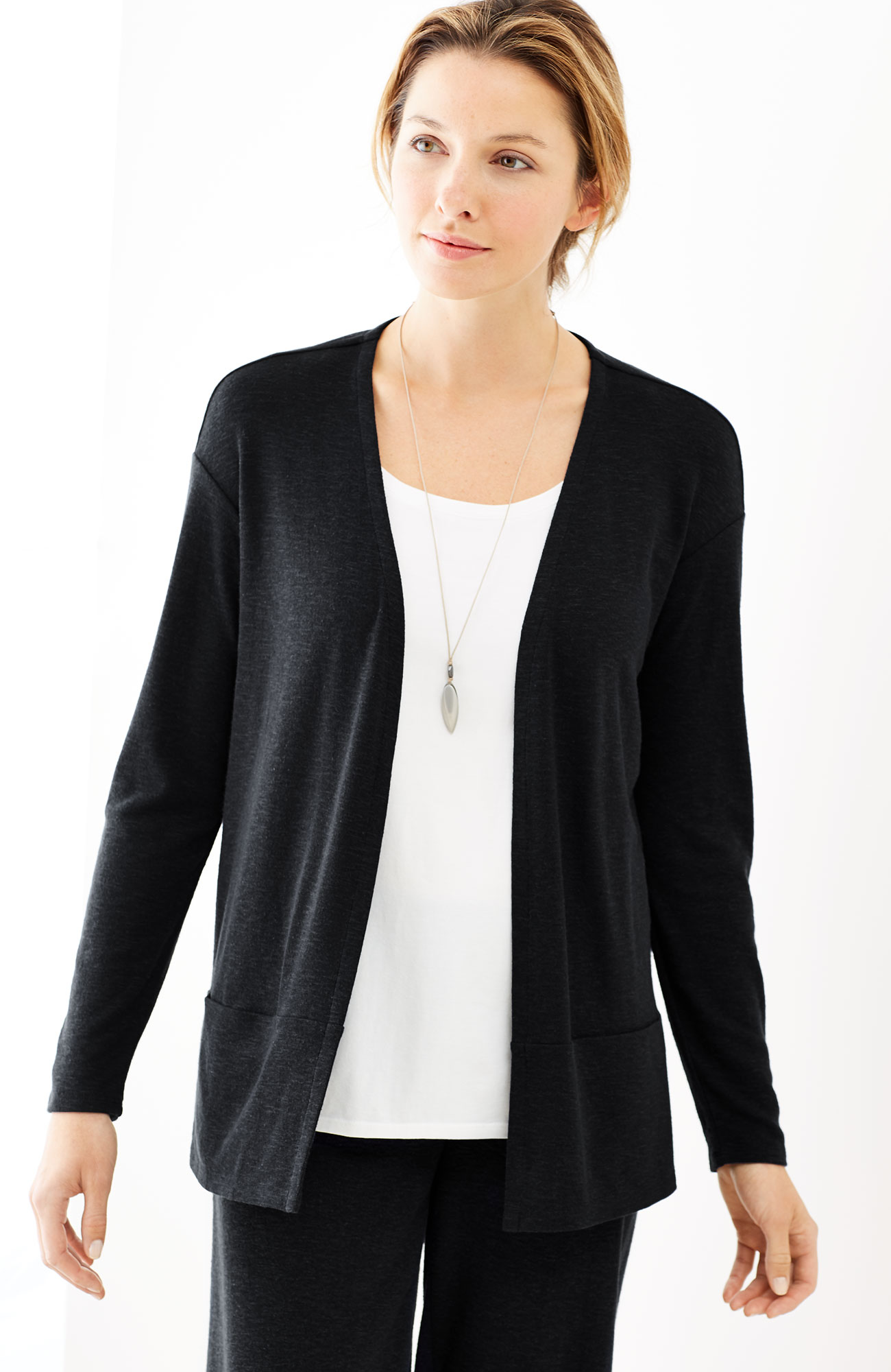 Pure Jill Tencel®-Soft knit open-front jacket