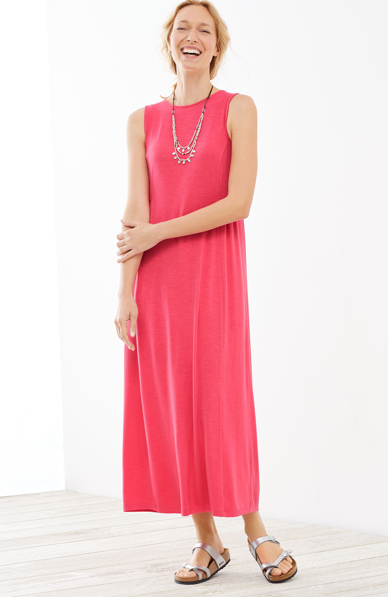 shirred-waist knit maxi dress
