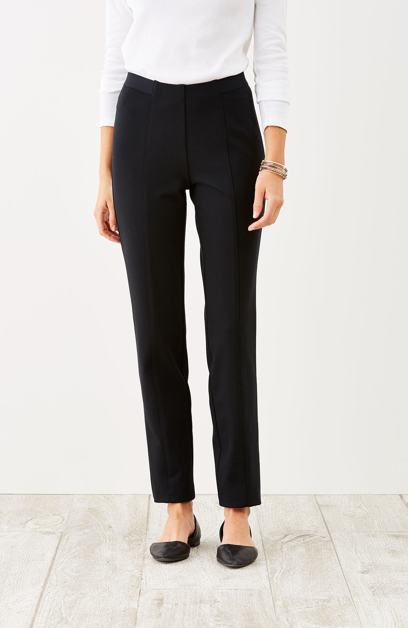 ponte knit seamed pants