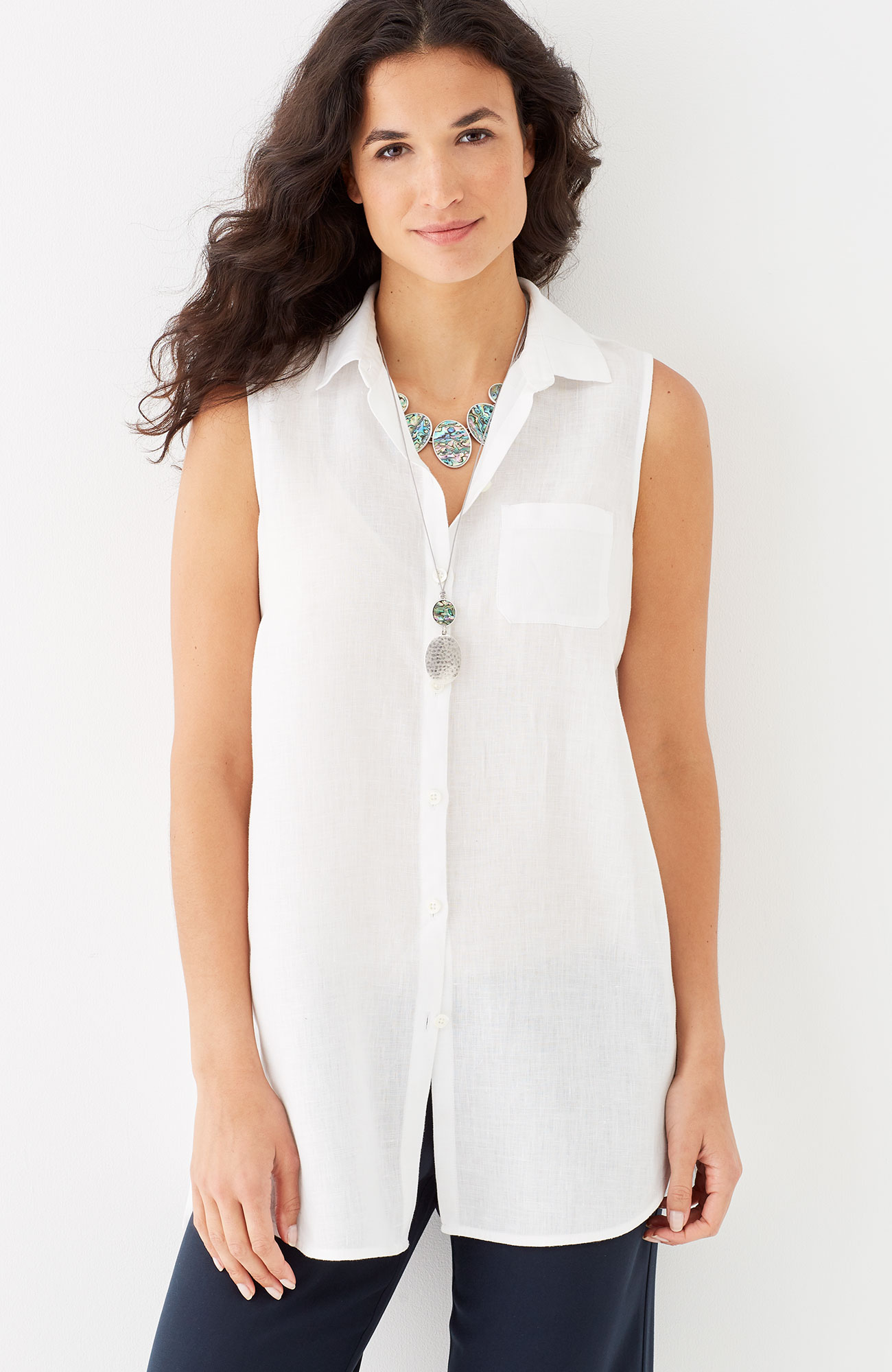 linen sleeveless tunic