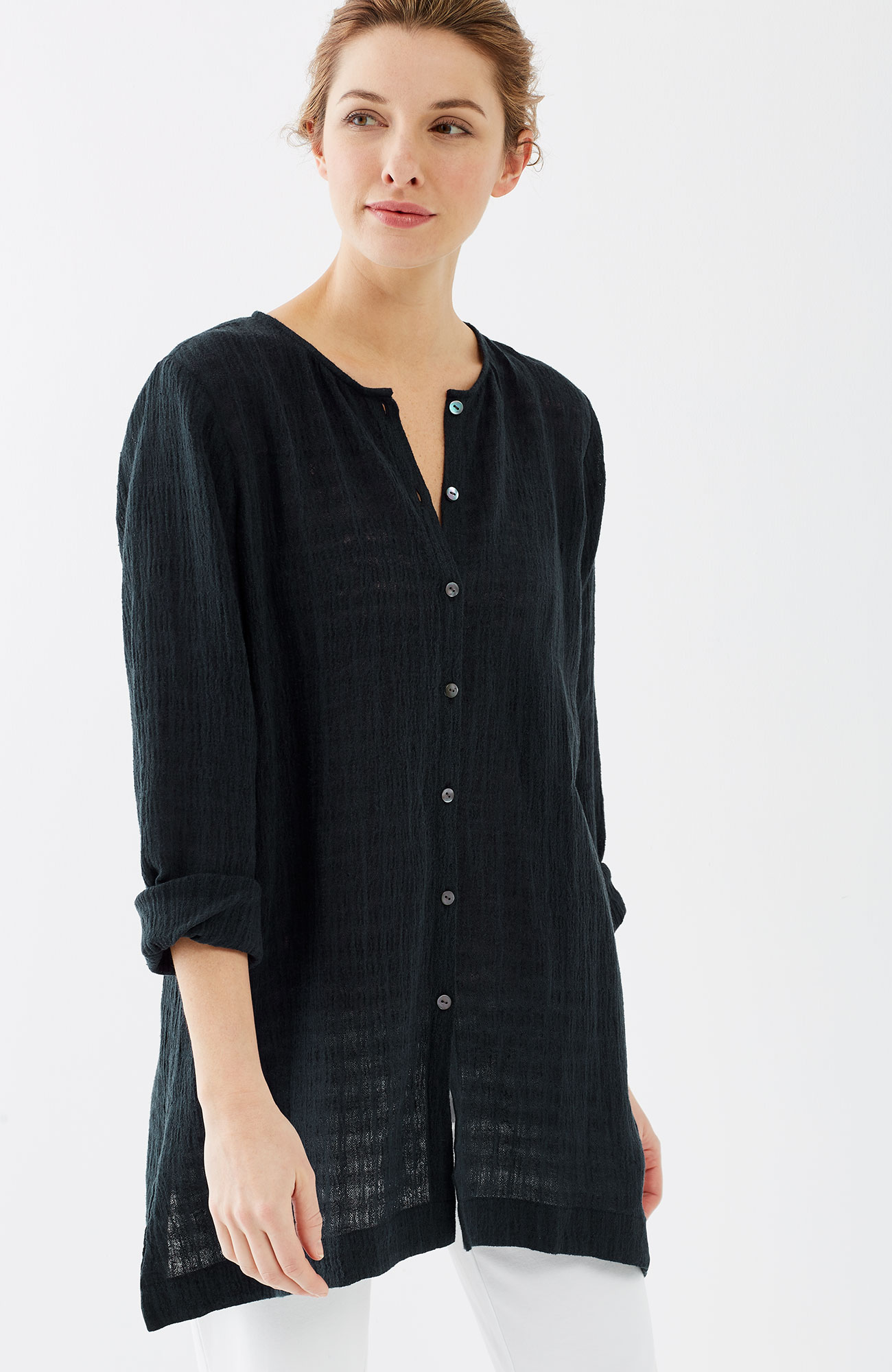 Pure Jill linen & cotton crinkled shirt
