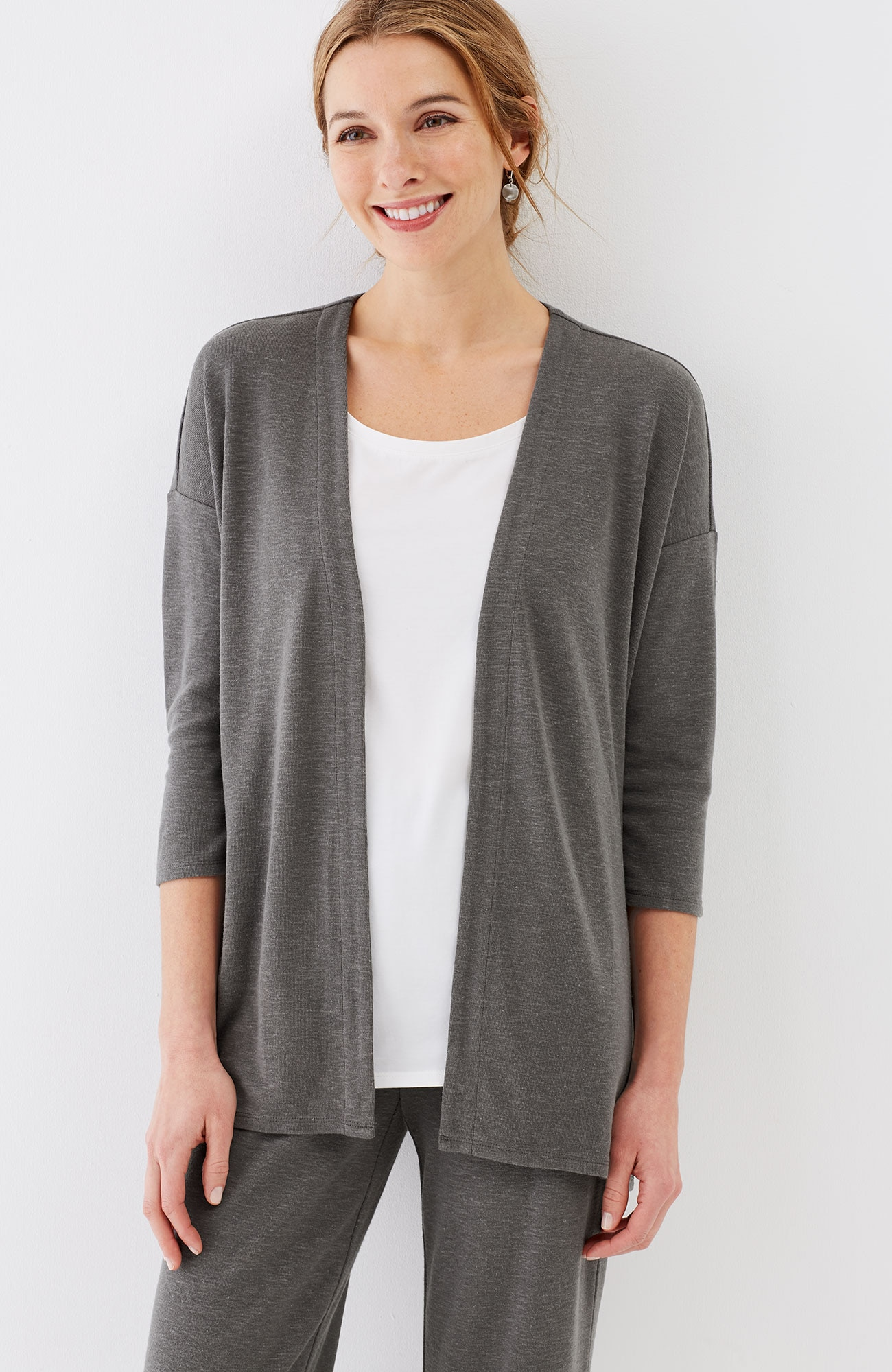 Pure Jill Tencel®-Soft knit dipped-hem jacket