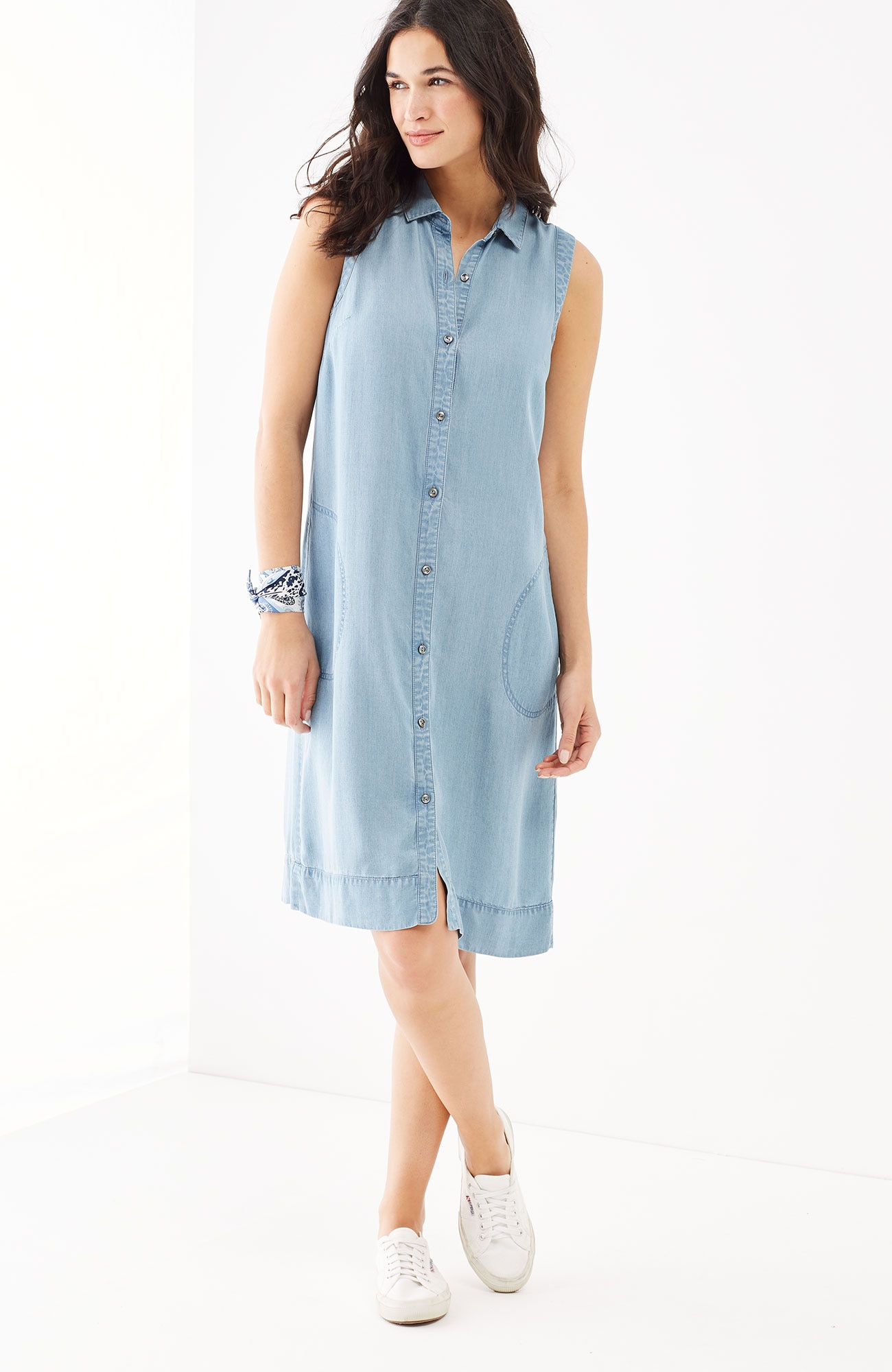 Tencel® sleeveless shirtdress