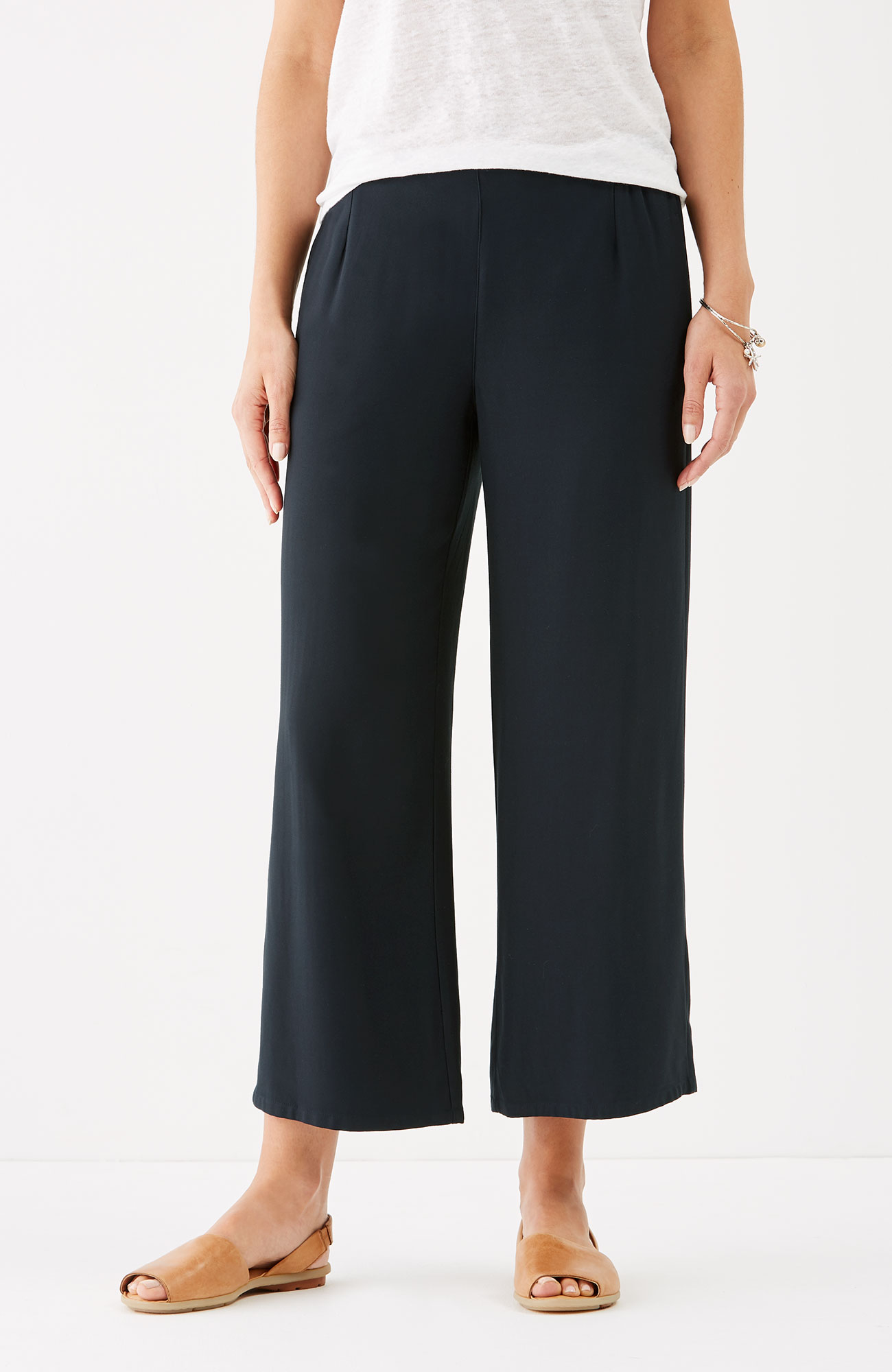 soft rayon-twill full-leg crops