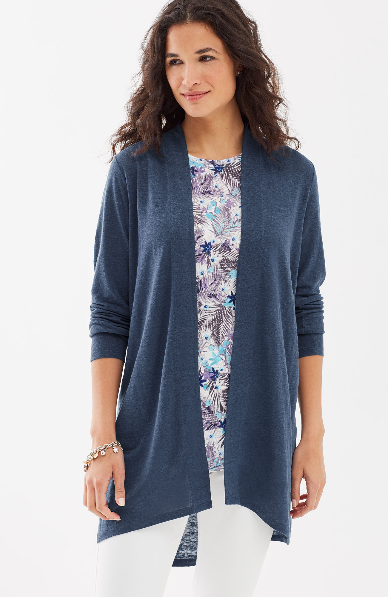 Portofino linen-knit cardi
