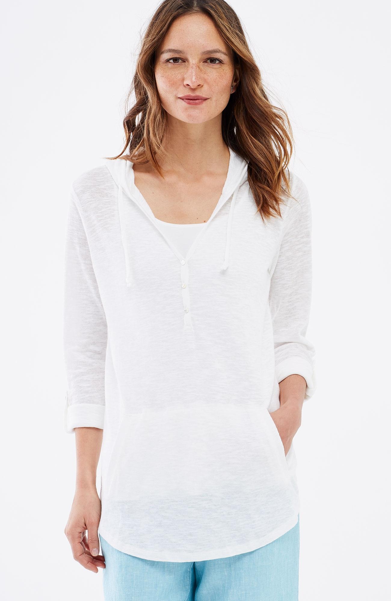 linen & cotton shirttail hoodie