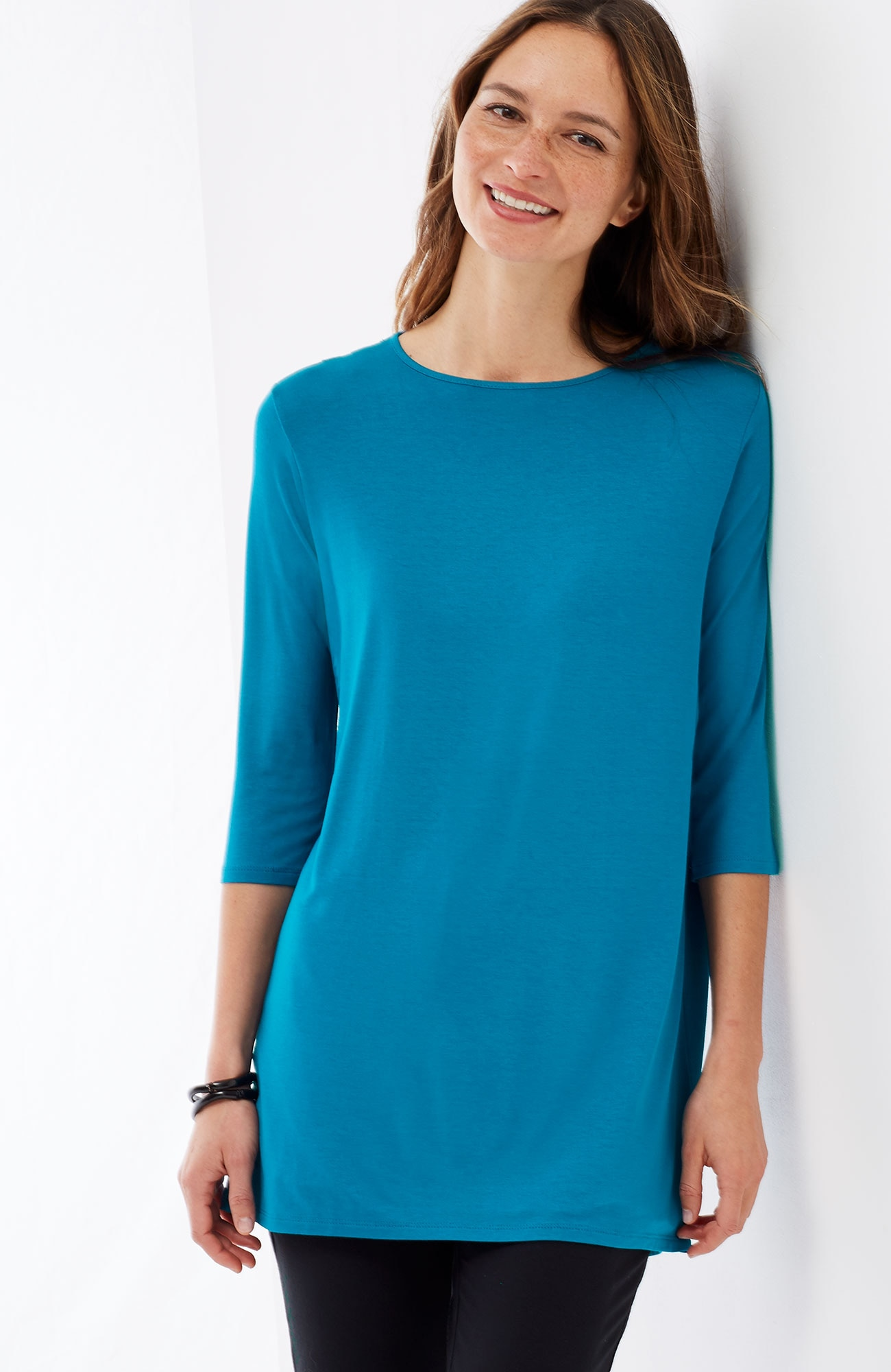 Wearever pleated-back elliptical tunic