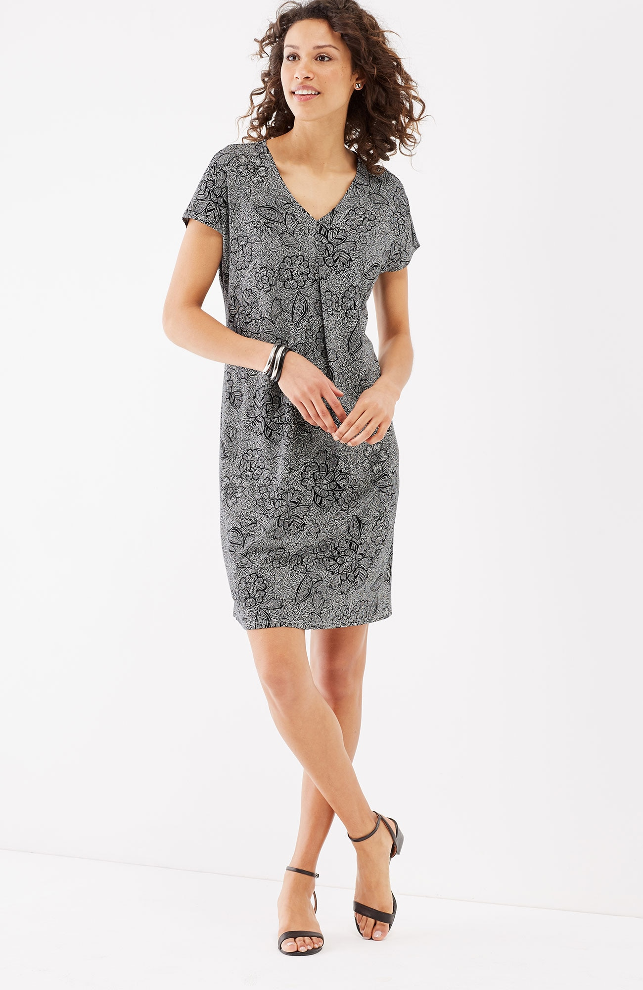Wearever pleat-front V-neck dress