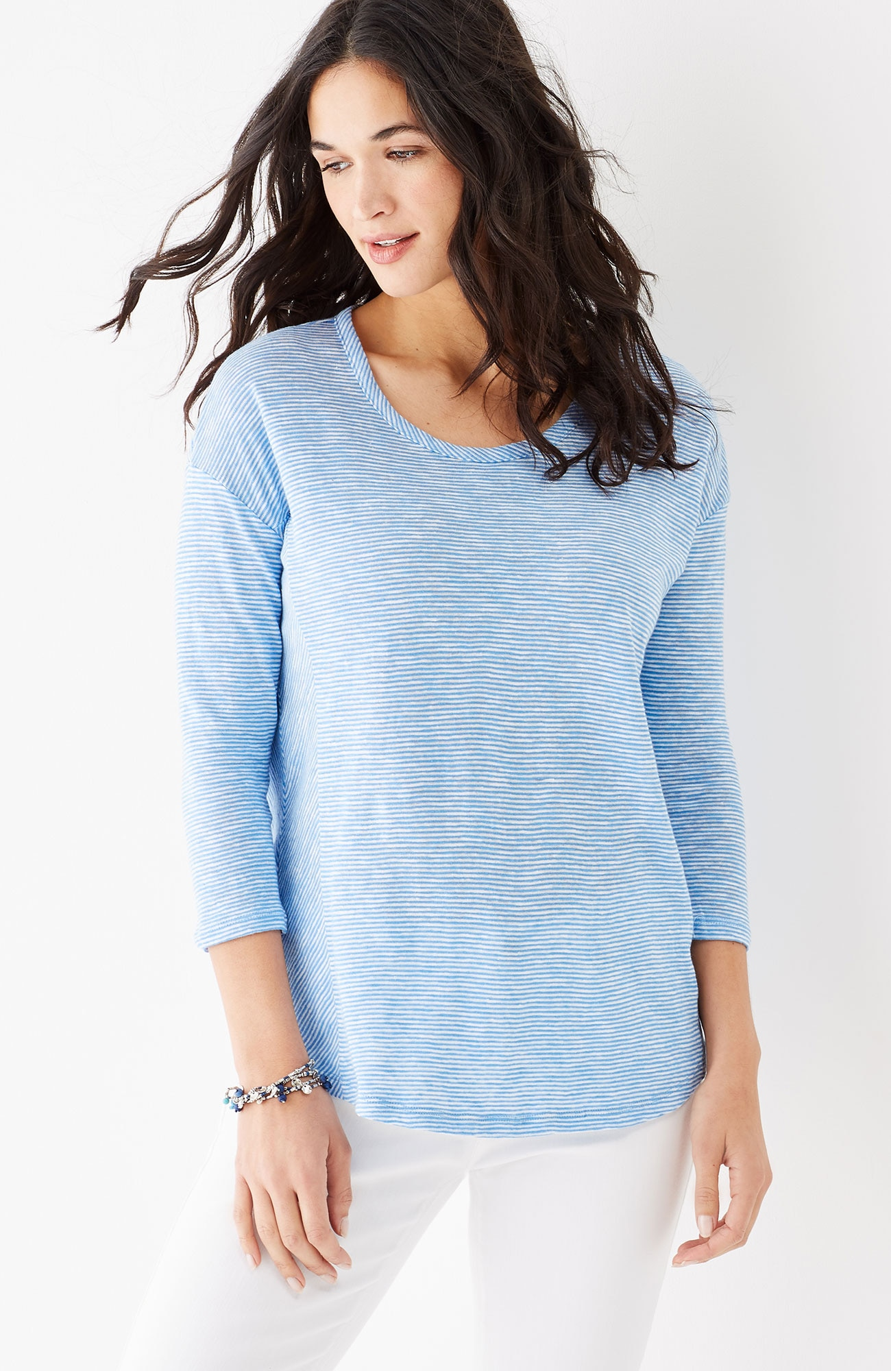 linen & cotton seamed knit top