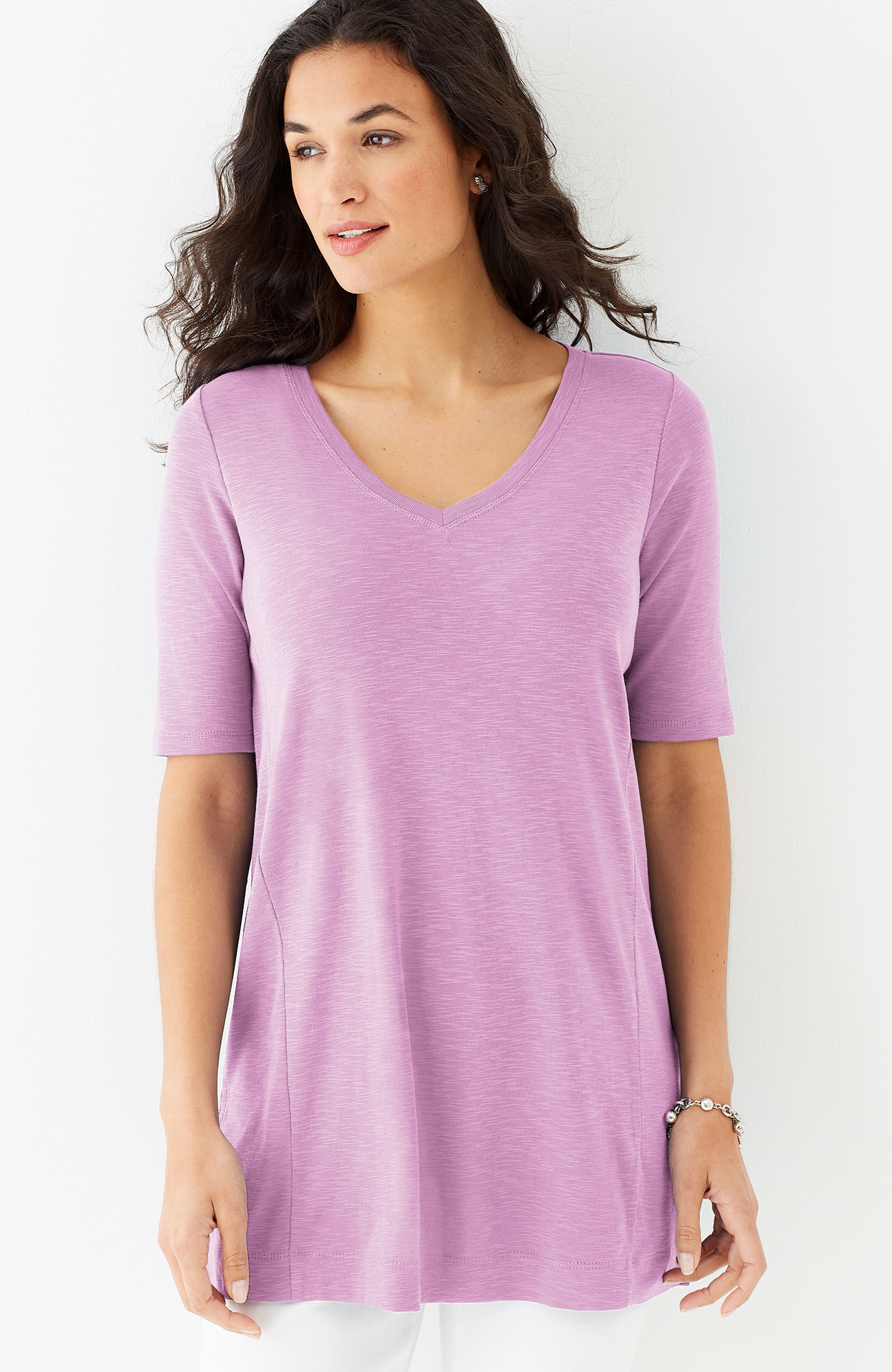 pima slub-textured elbow-sleeve tunic