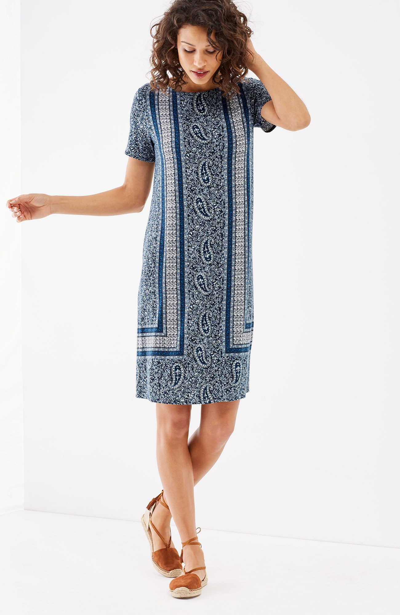 knit border-print dress