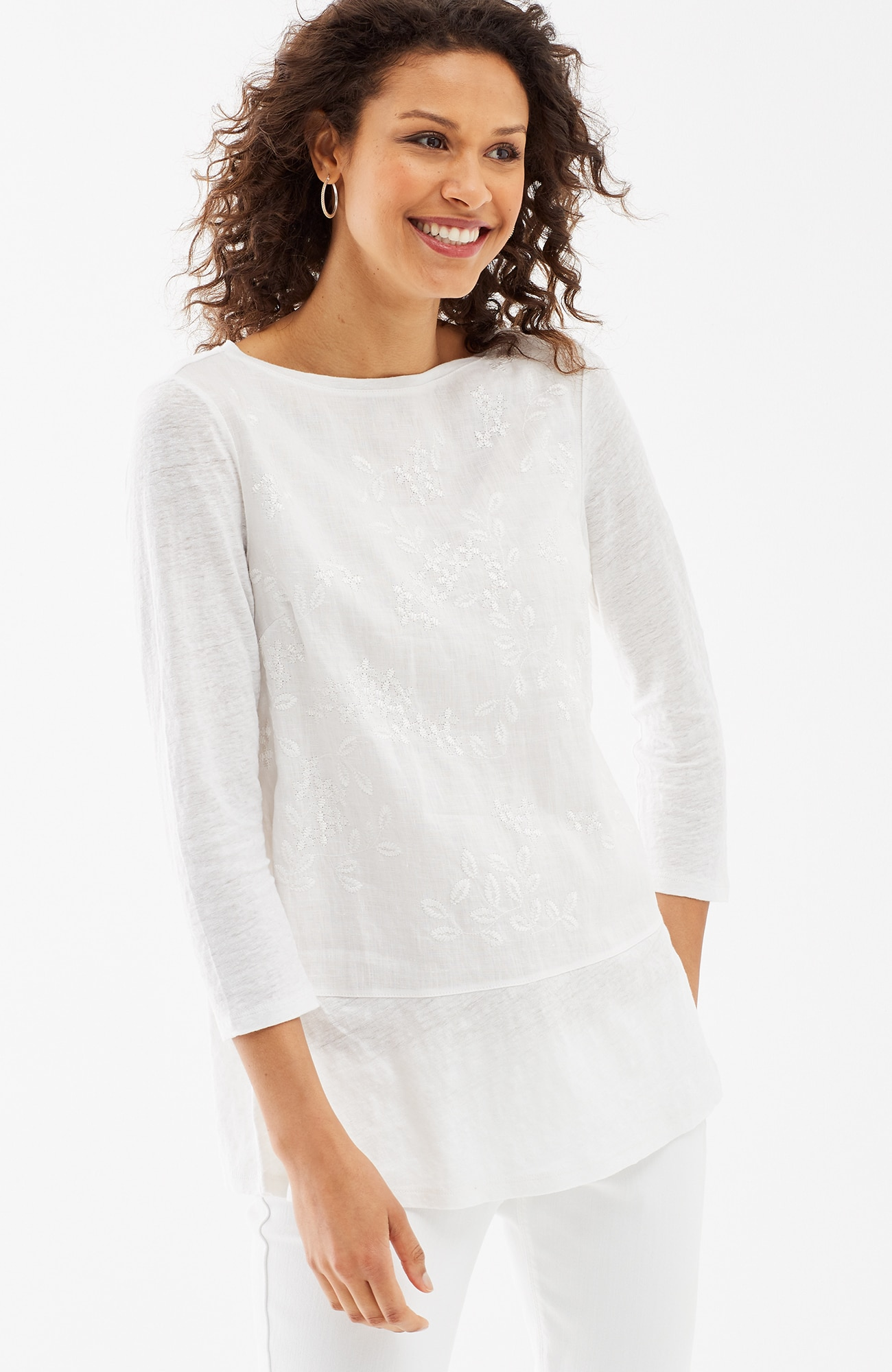 embroidered linen mixed-media top