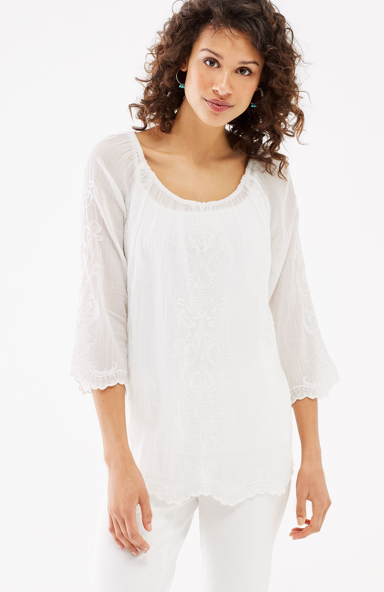 embroidered scalloped-hem top