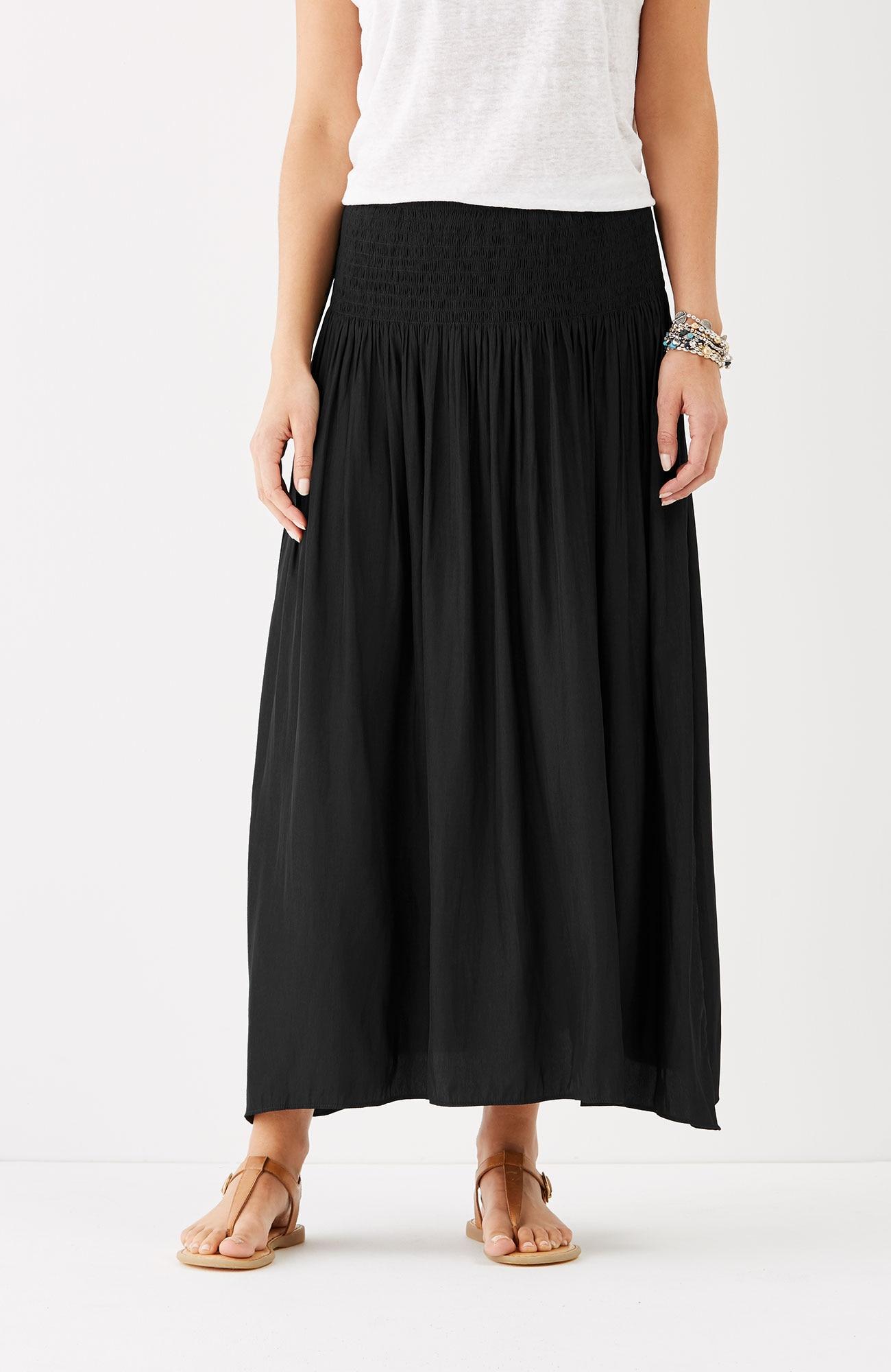 smocked-waist maxi skirt