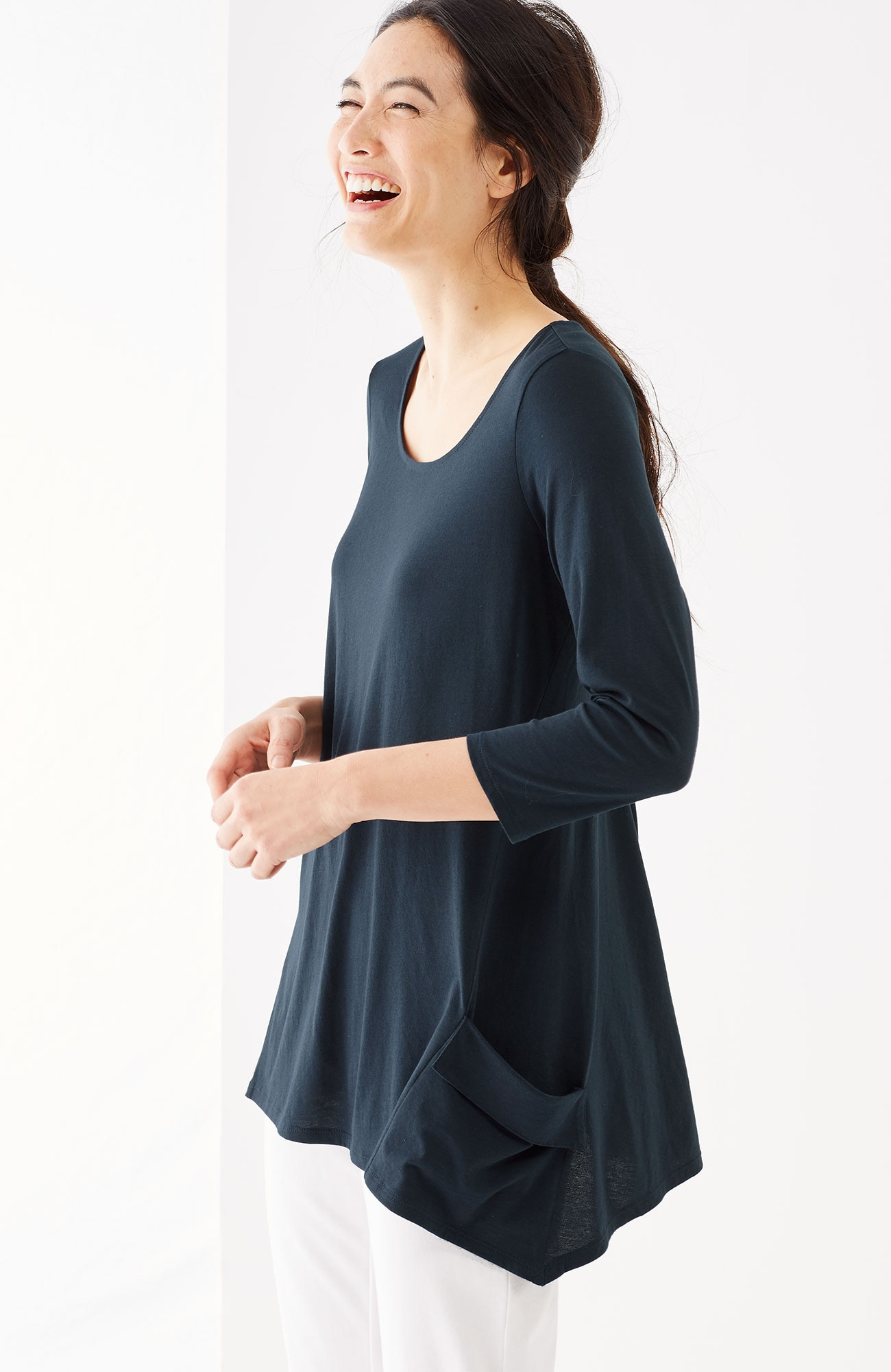 Pure Jill draped-pocket top