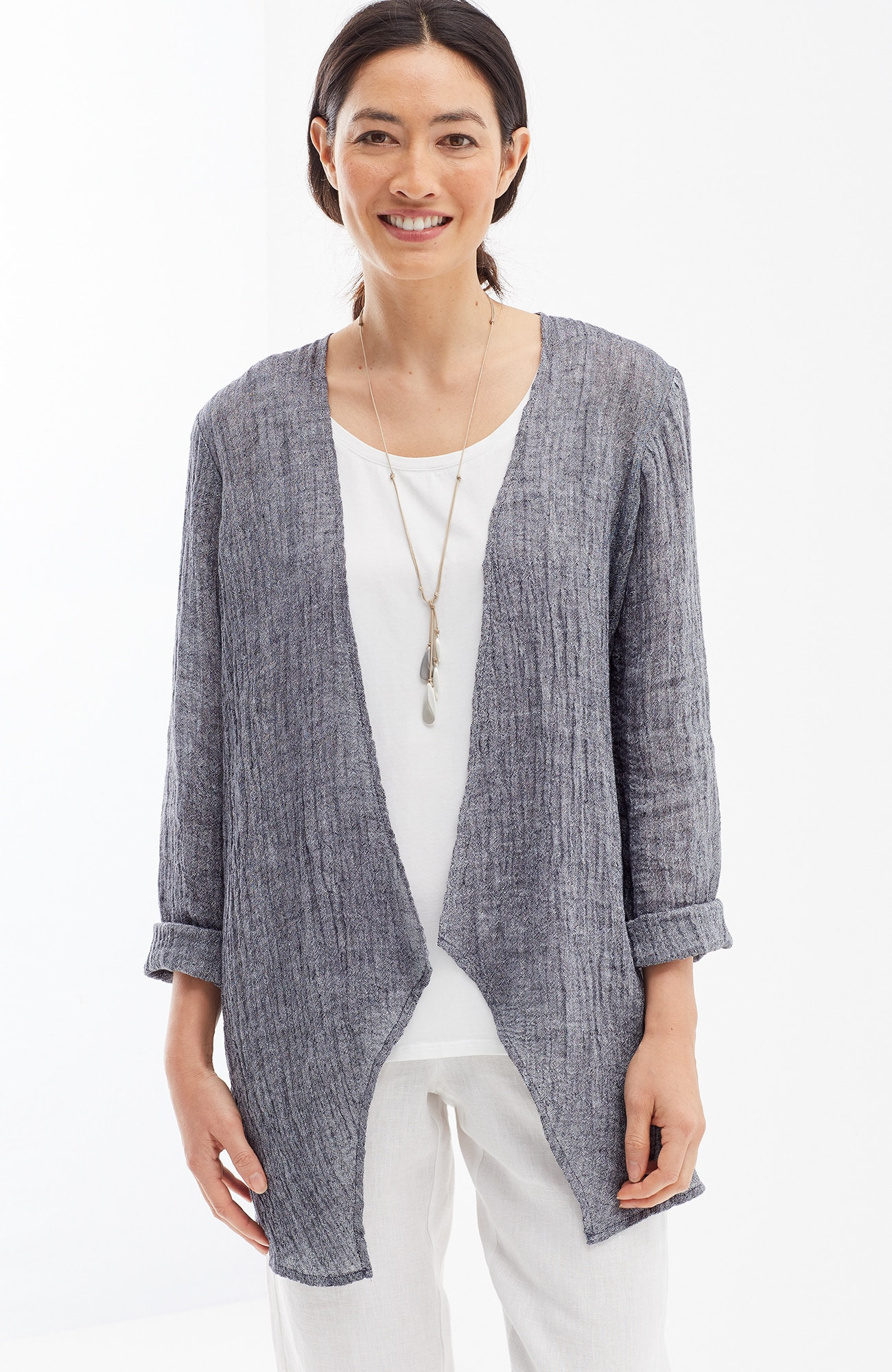 Pure Jill crinkled-linen open-front jacket