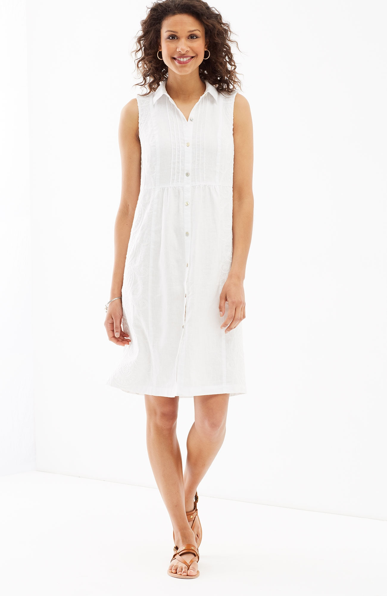 embroidered-linen shirtdress