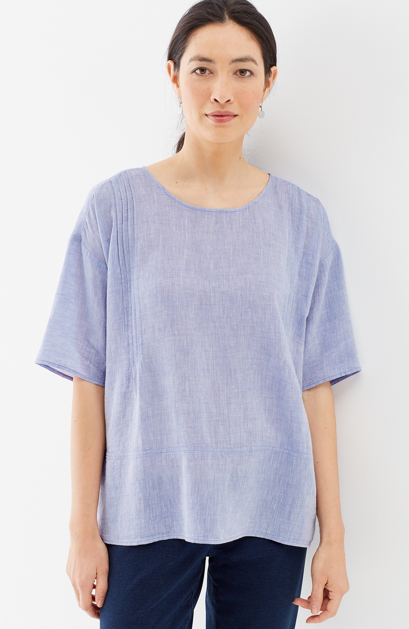 Pure Jill pintucked seamed top
