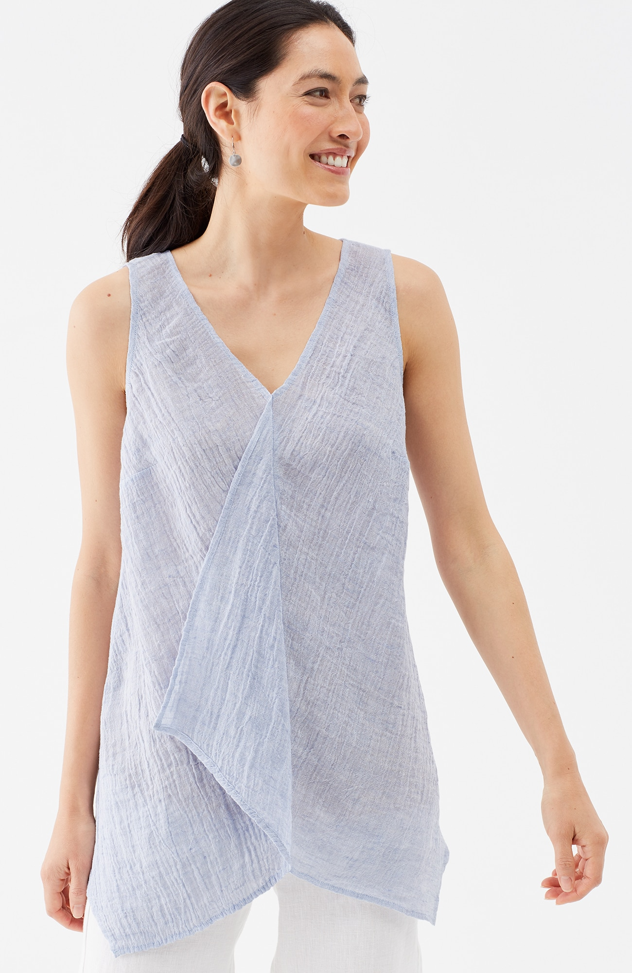 Pure Jill crinkled-linen draped top