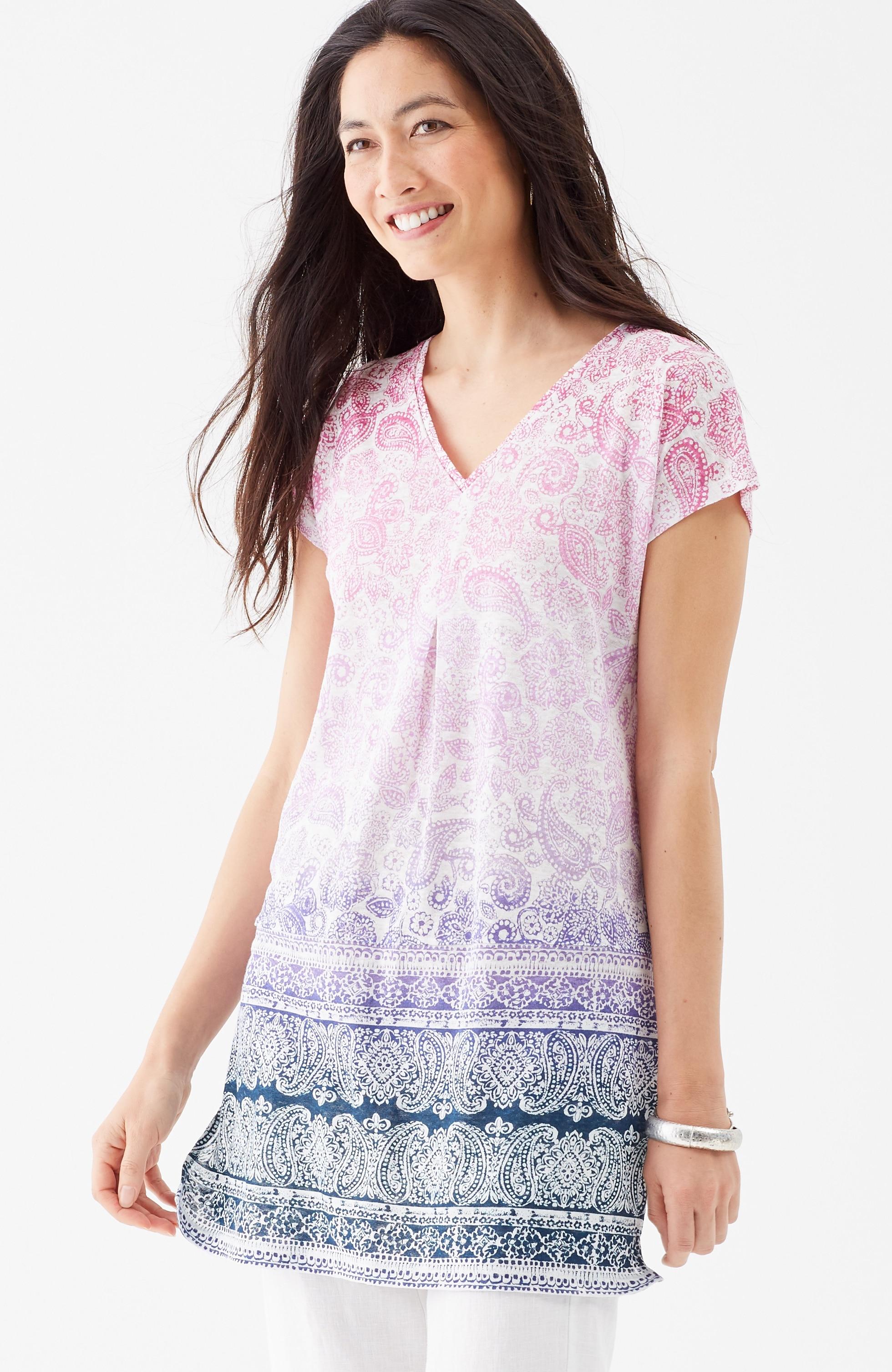 linen-knit ombré-paisley tunic