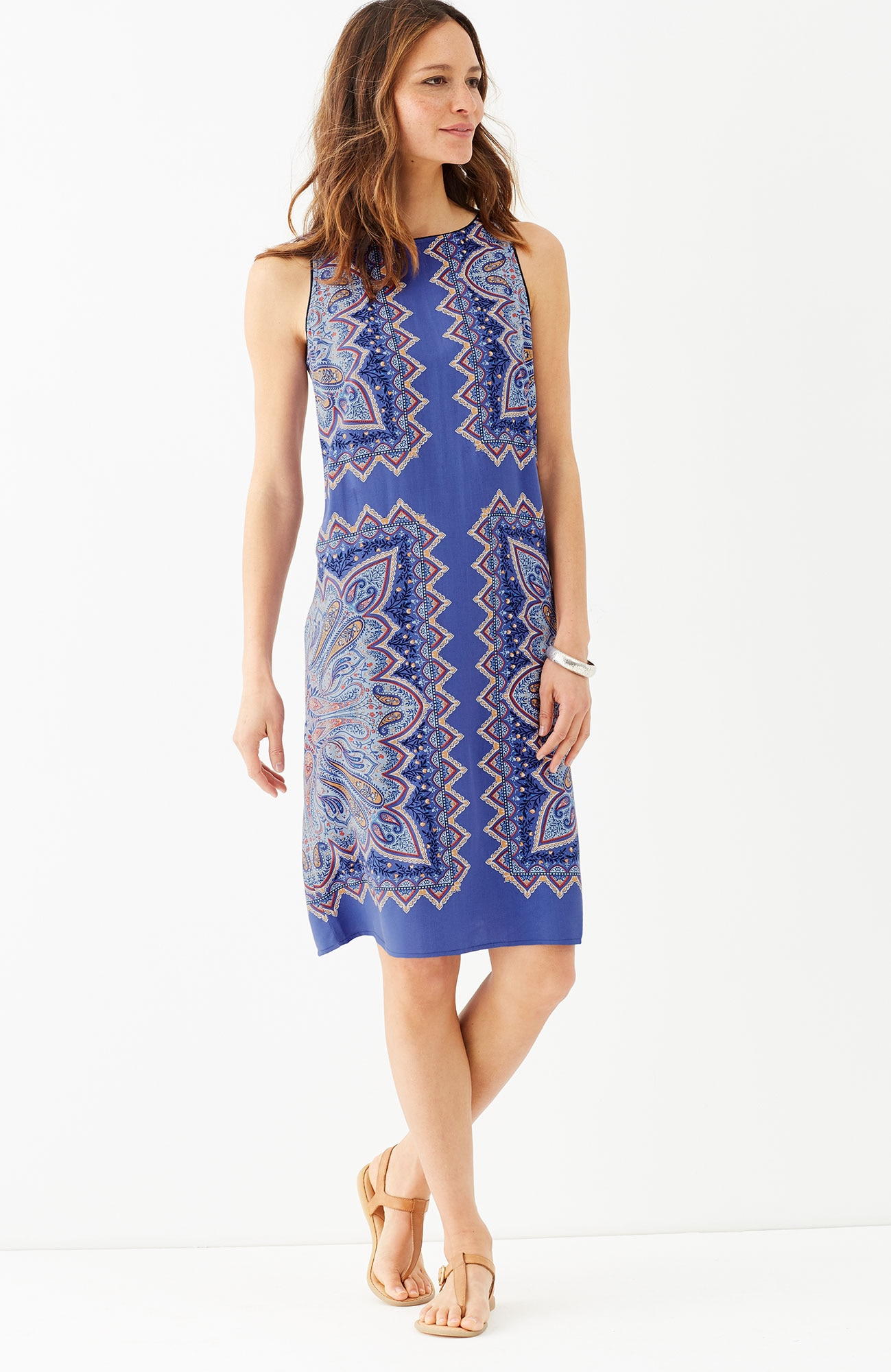 paisley boat-neck dress