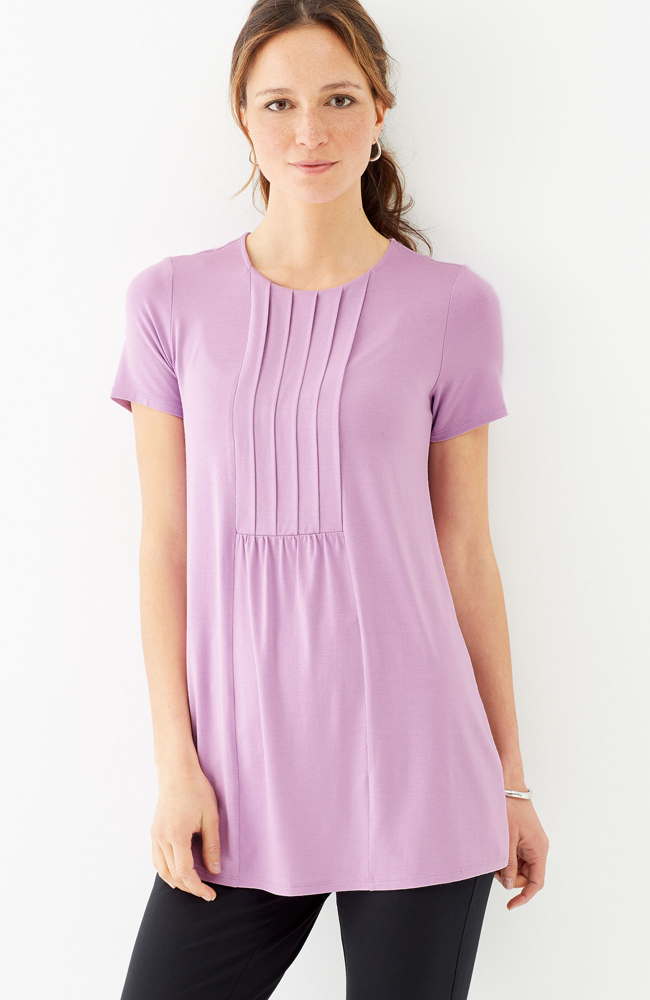 Wearever pleated-front tunic