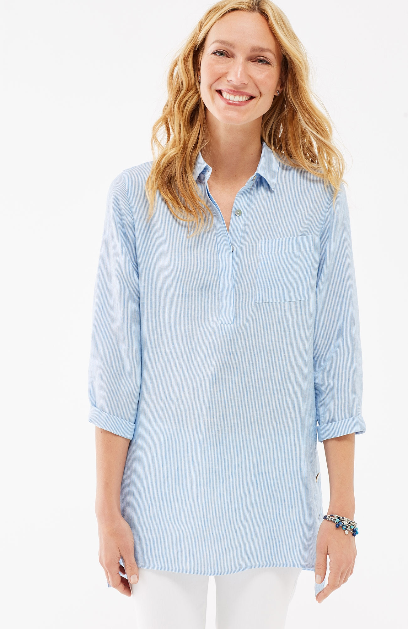 linen side-button tunic