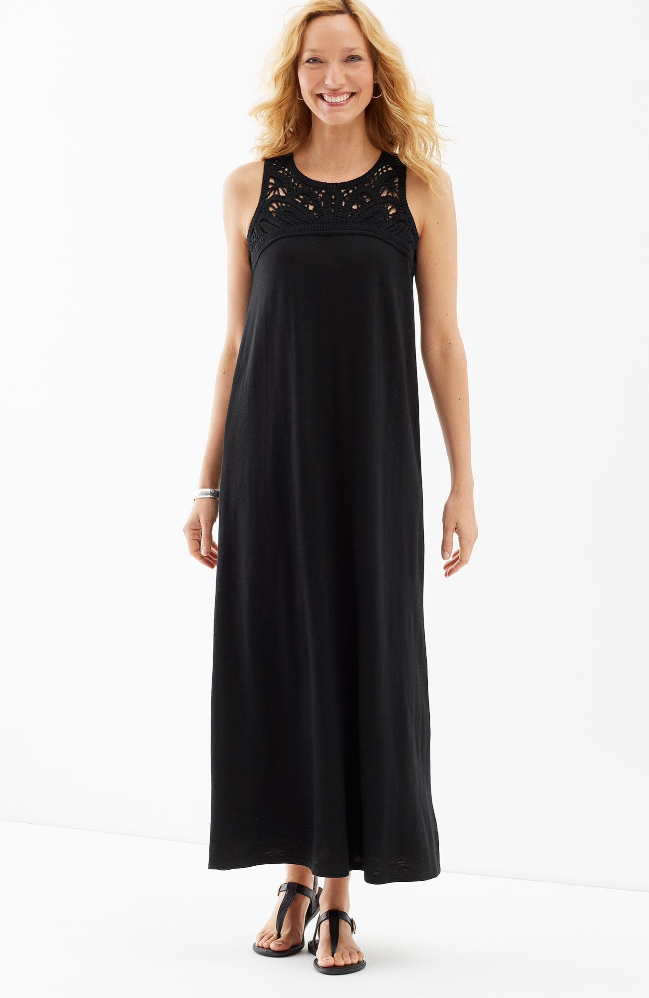 macramé-trim knit maxi dress