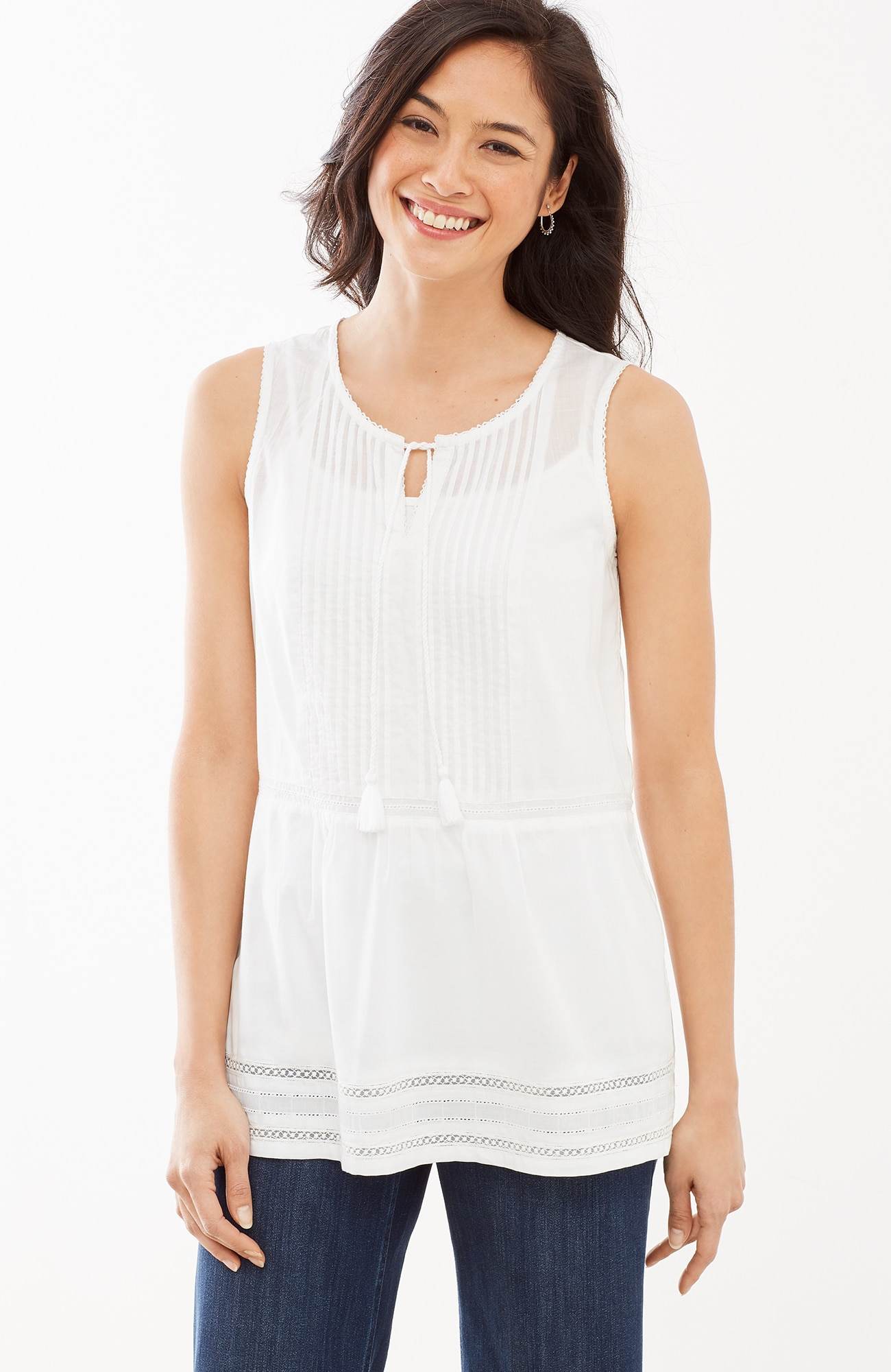 pintucked sleeveless top