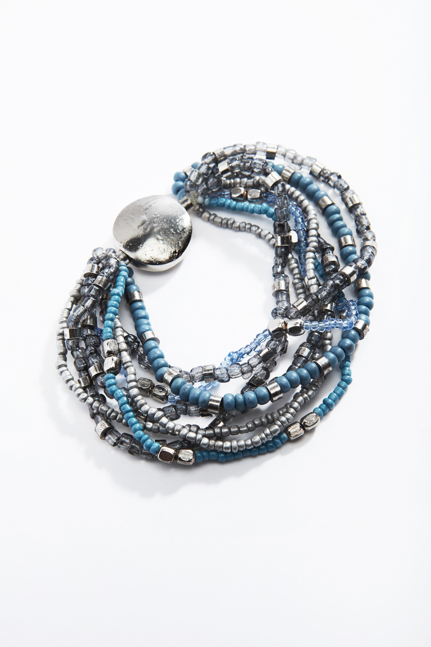 blue beads stretch bracelet