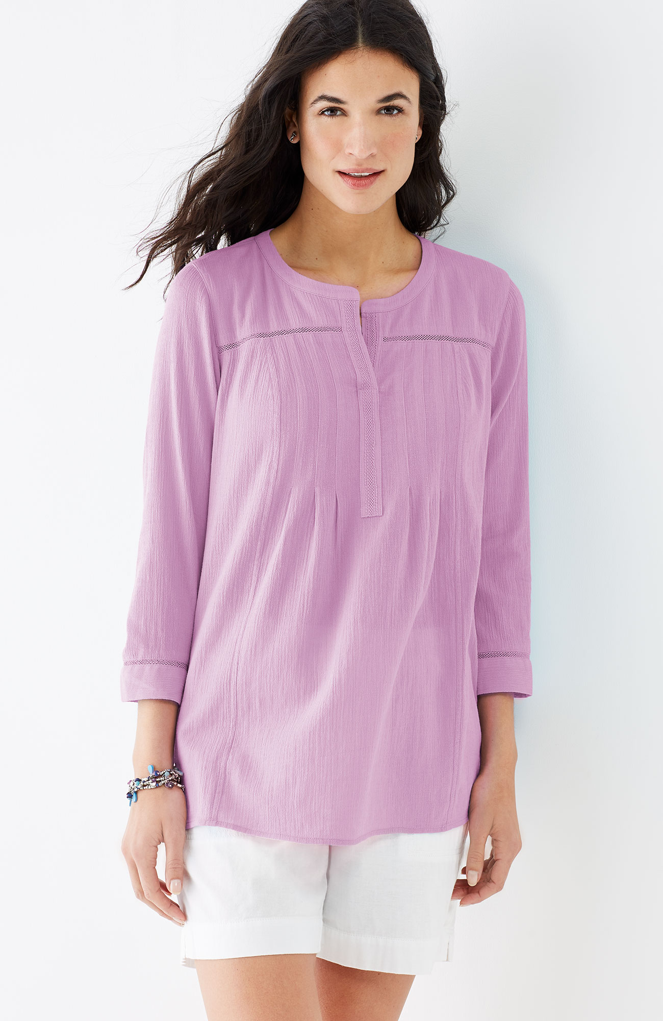crinkled-cotton pleated top