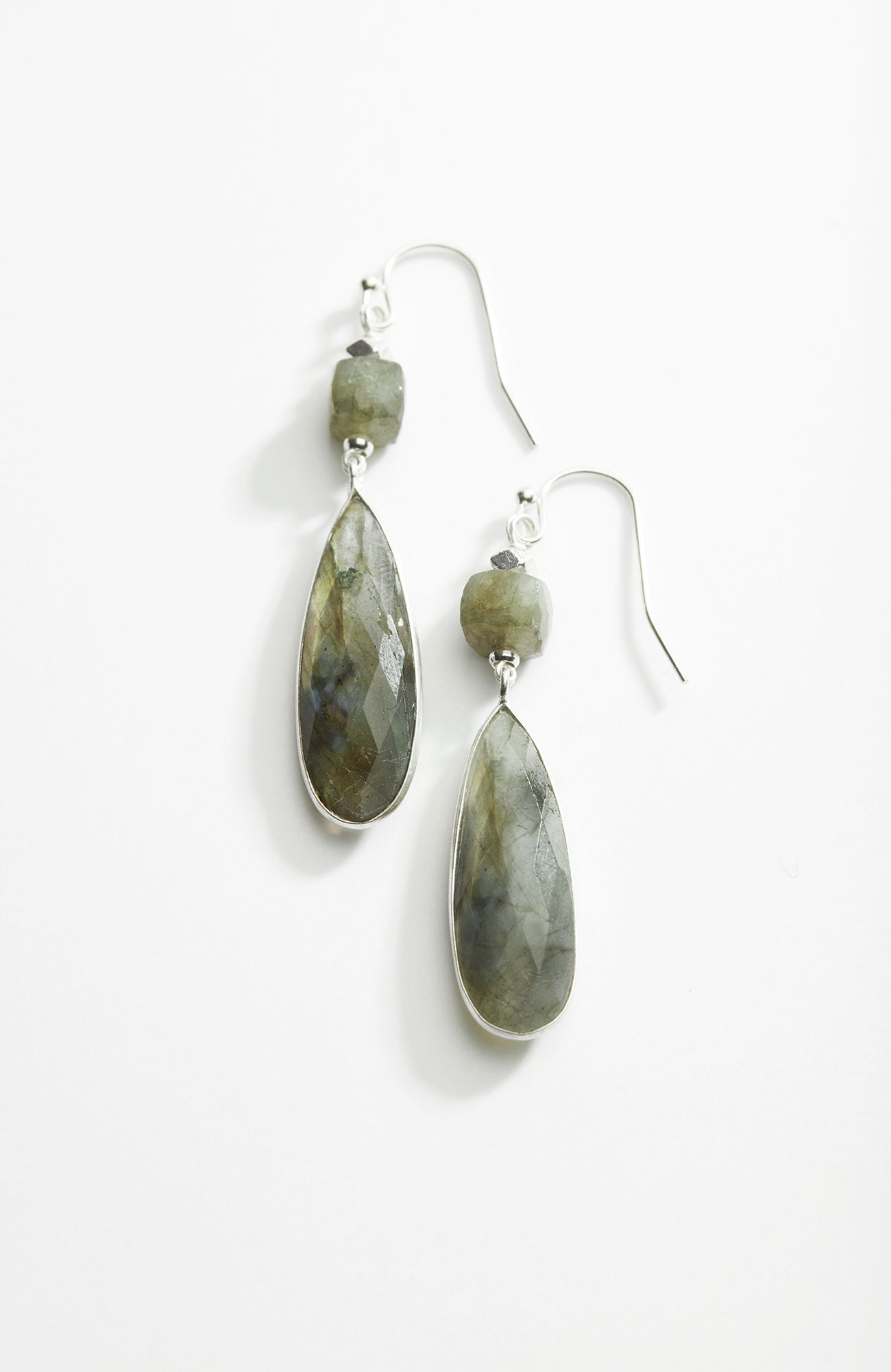 stacked semiprecious drop earrings