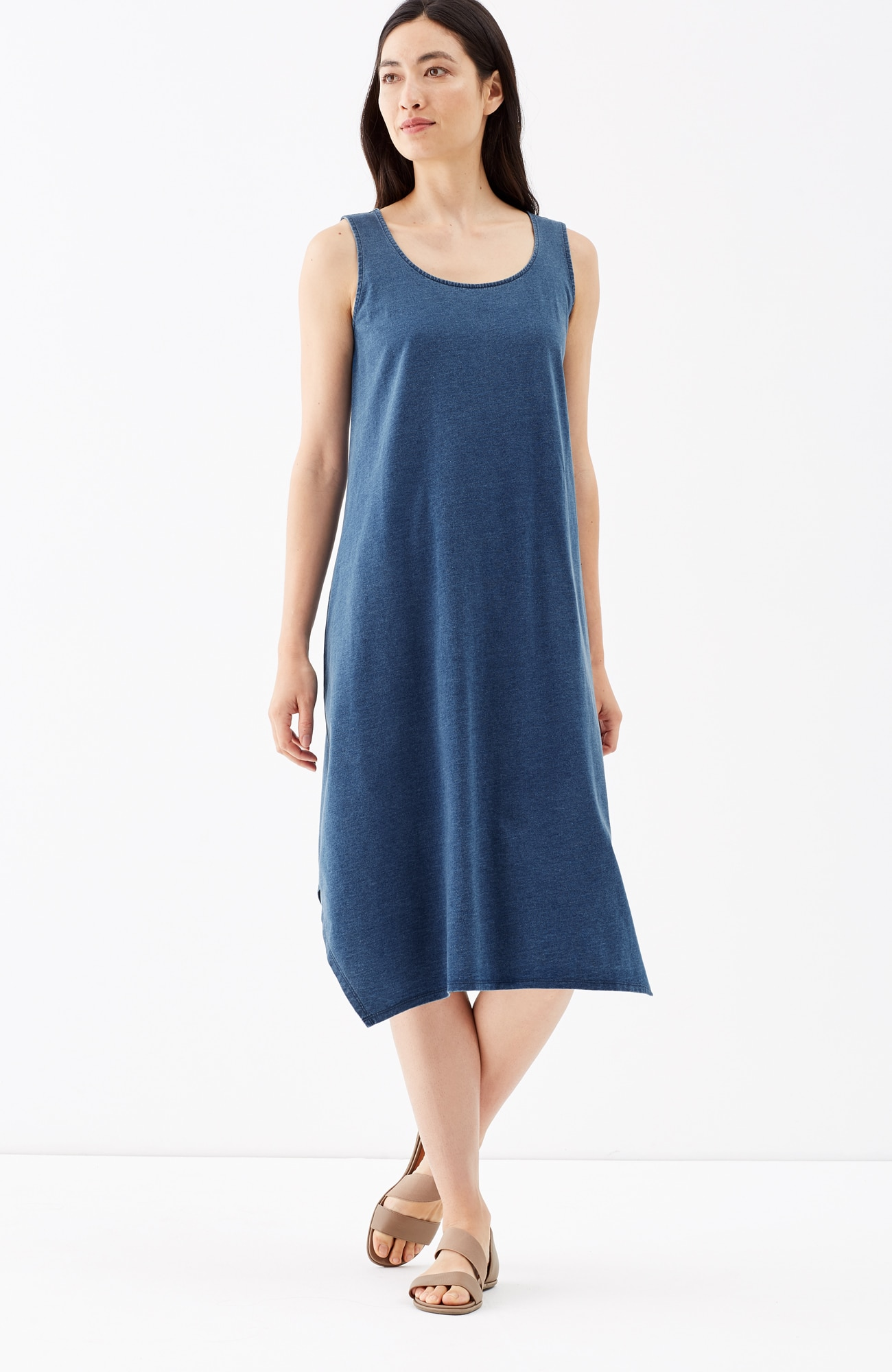 Pure Jill indigo knit dipped-hem dress