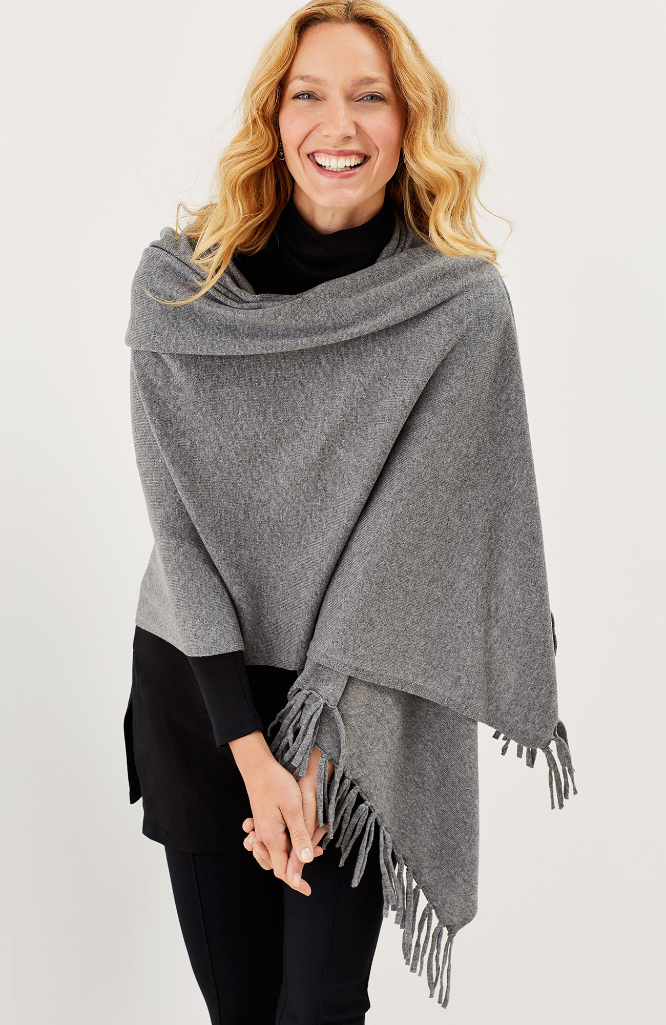 luxe wool & cashmere fringed wrap