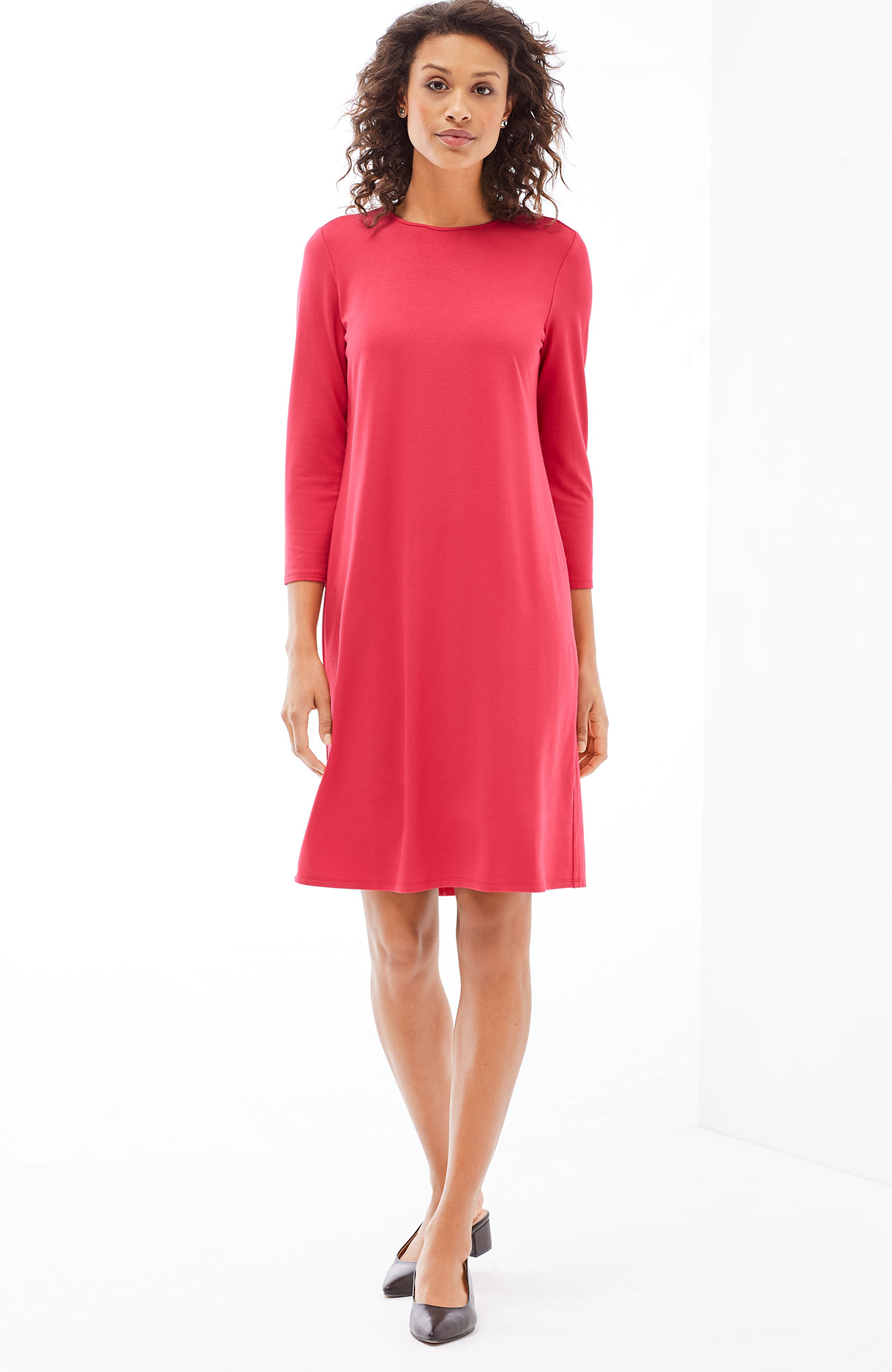 Wearever 3/4-sleeve pleated-back A-line dress