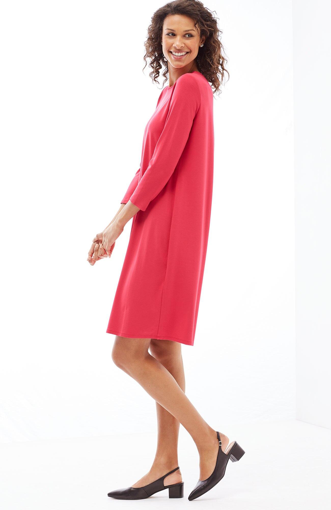 Wearever 3/4-sleeve pleated-back A-line dress