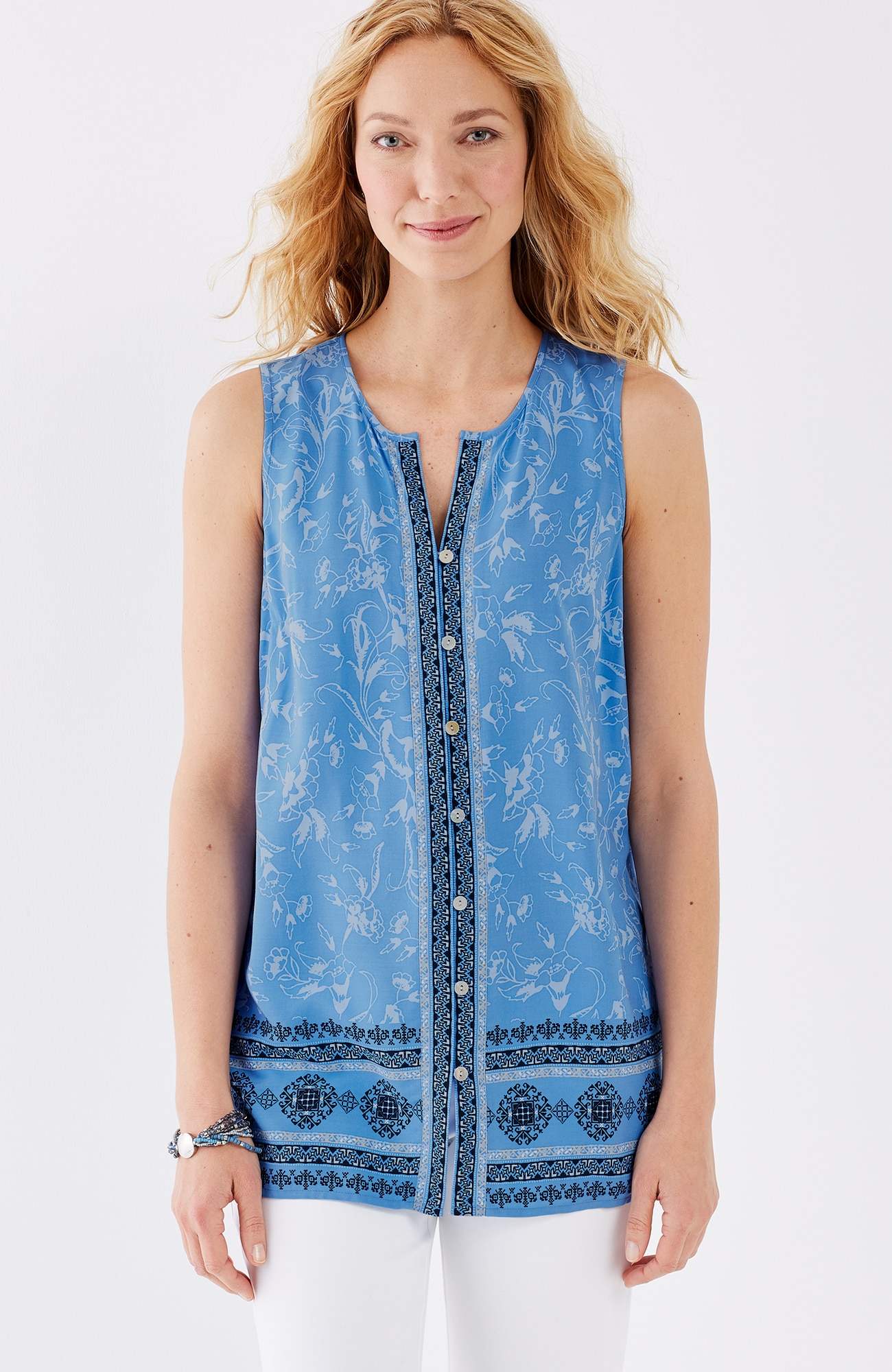 border-print sleeveless top