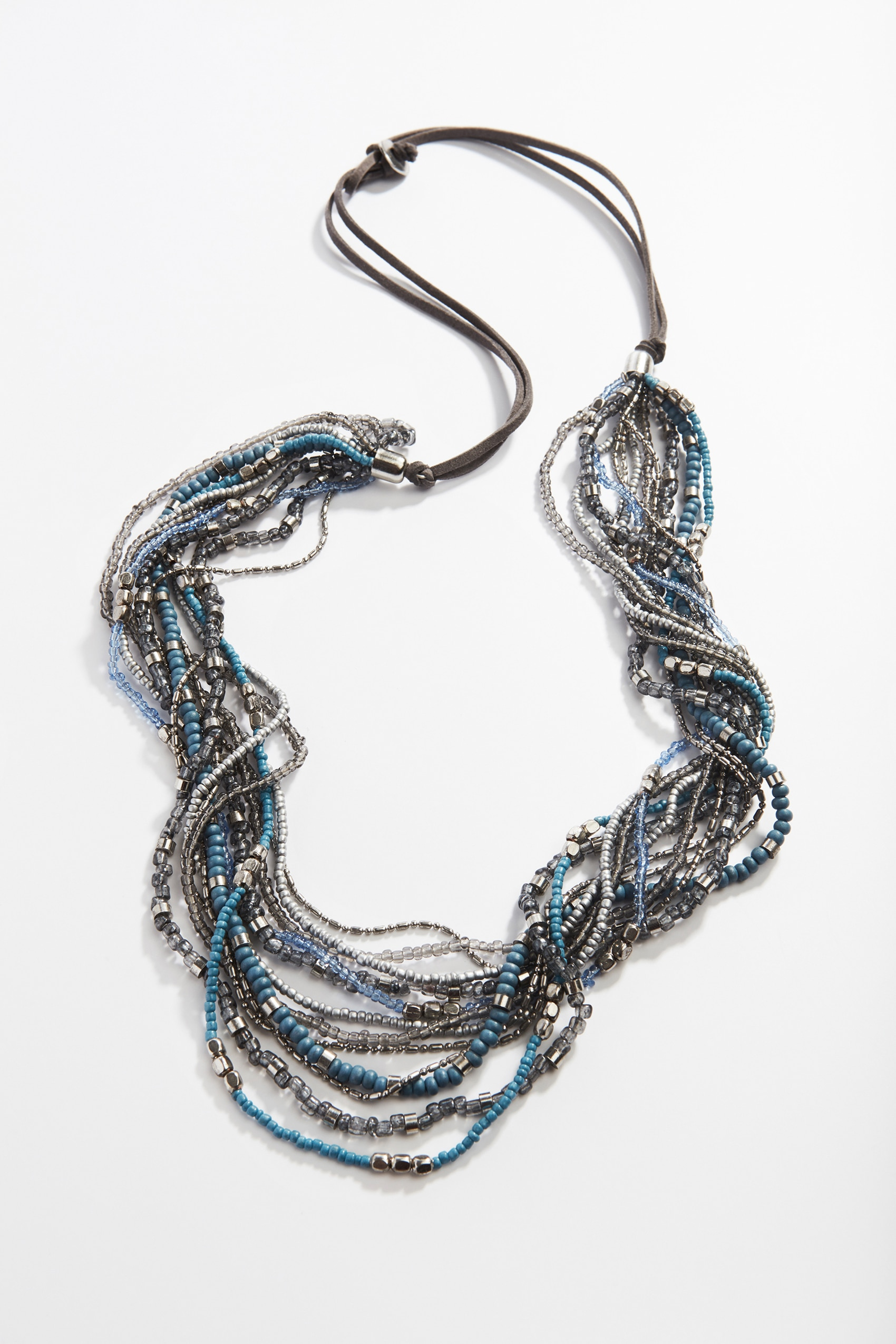 blue beads cascading necklace