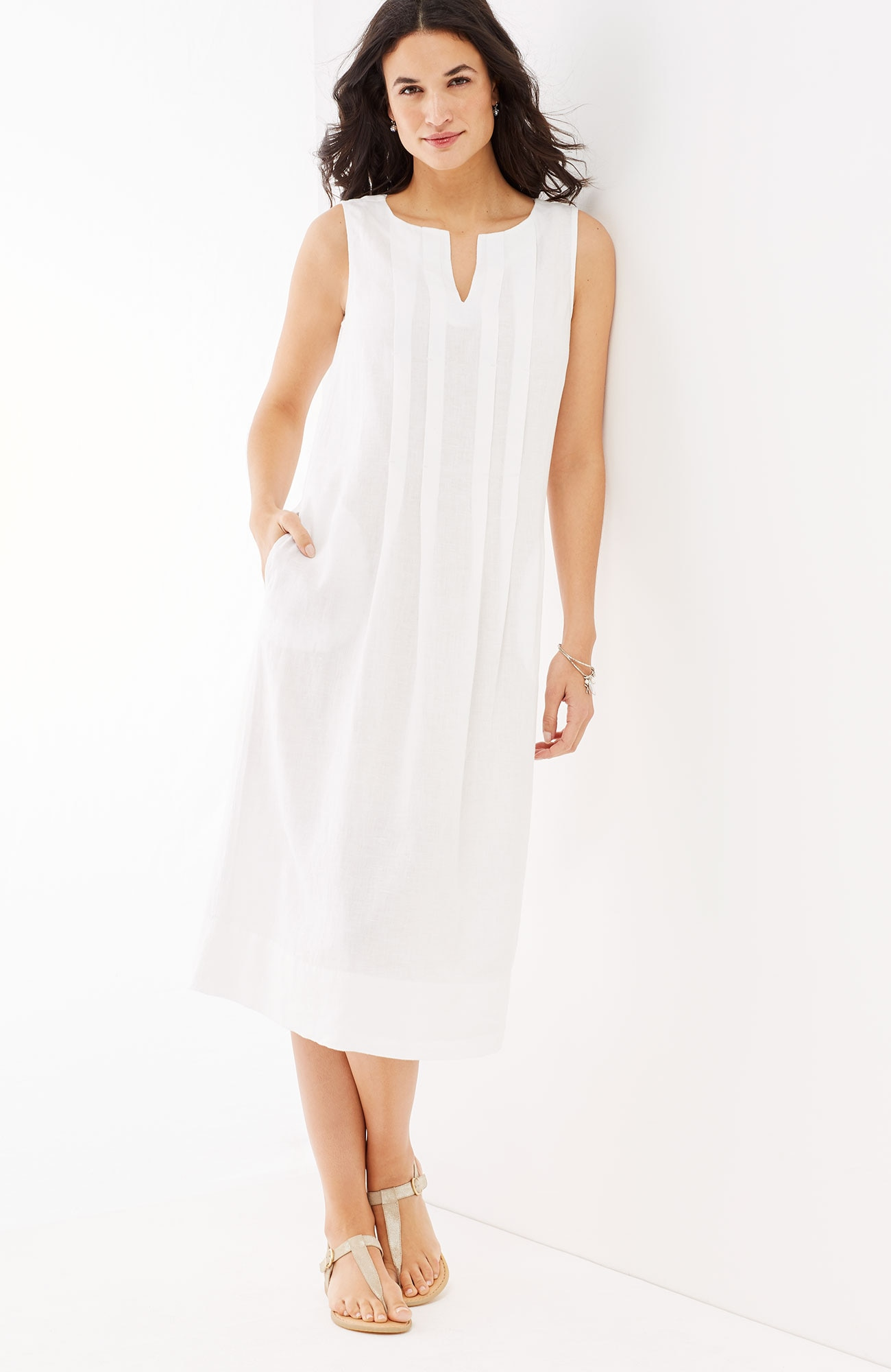 pleated linen dress