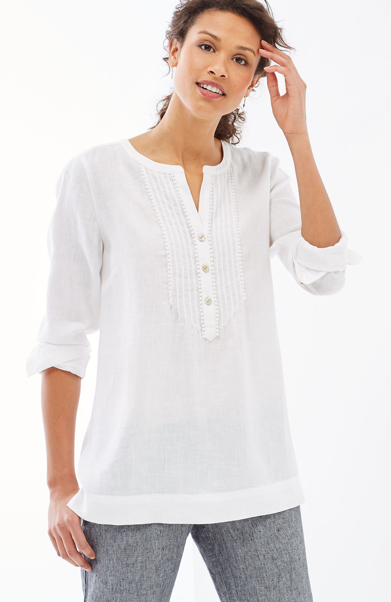 linen pintucked top