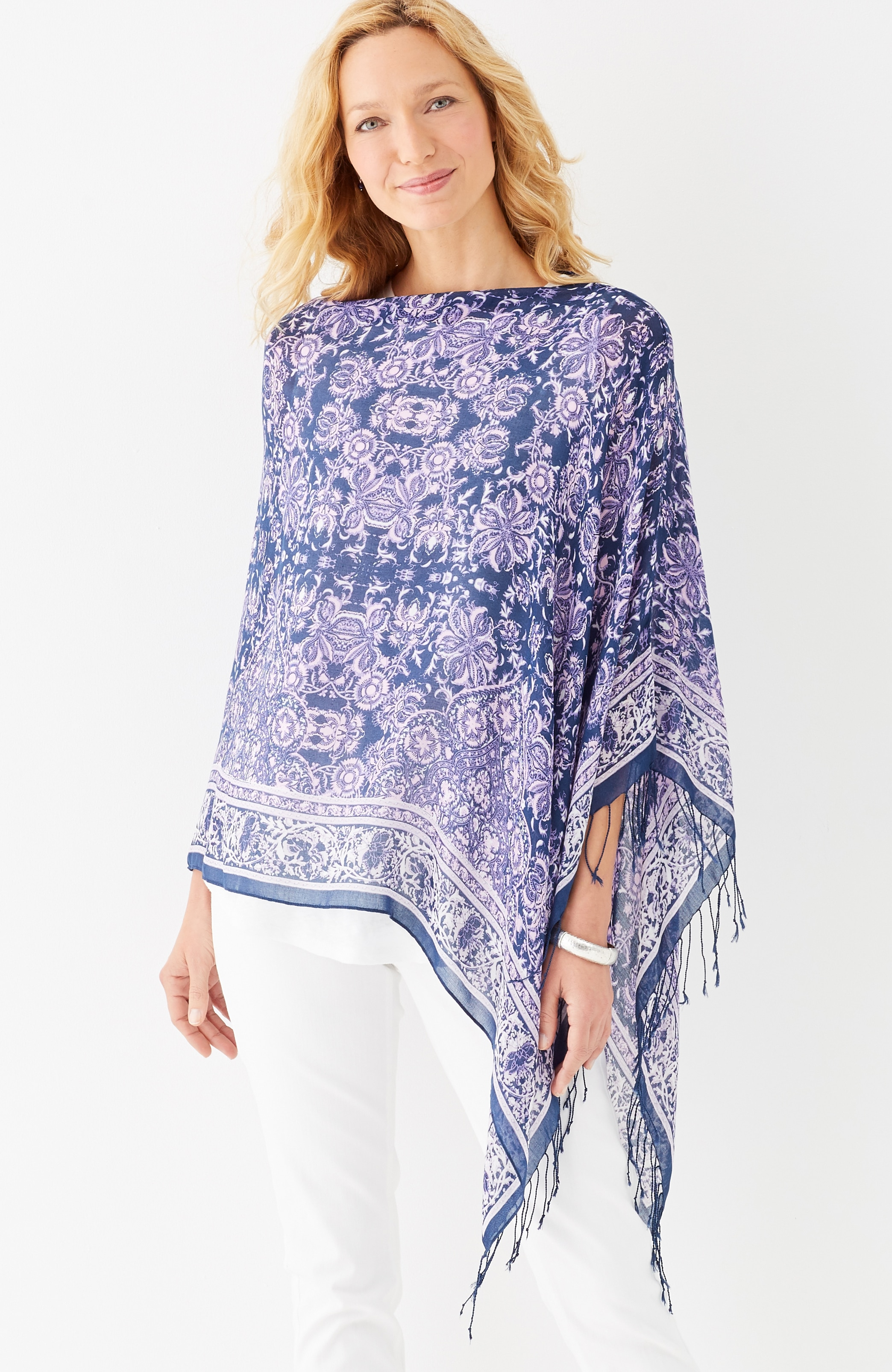 bordered medallion scarf poncho