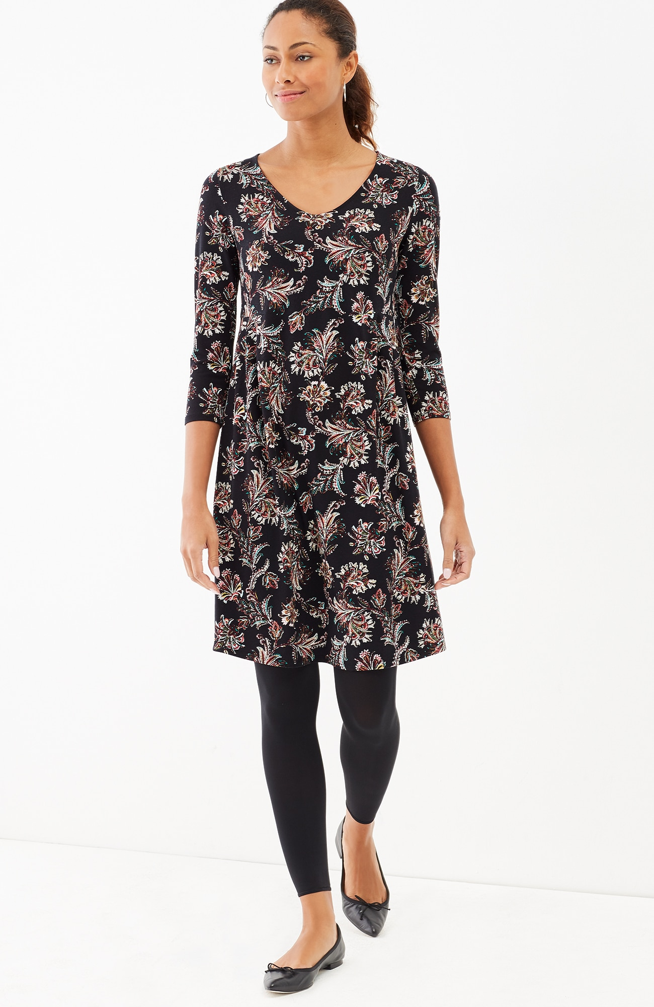 Wearever pleated-waist paisley dress