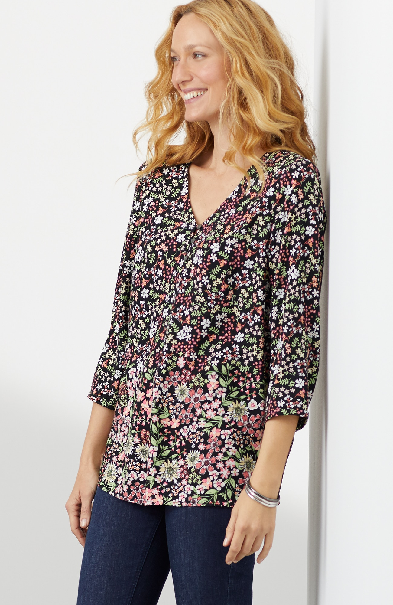 soft 3/4-sleeve floral top