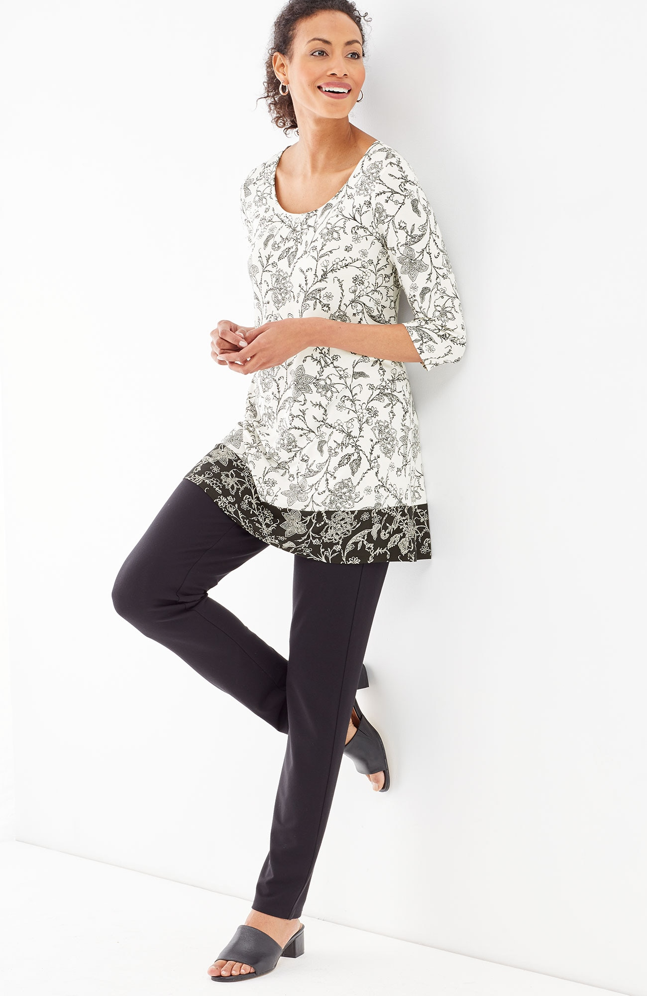 Wearever border-print floral tunic