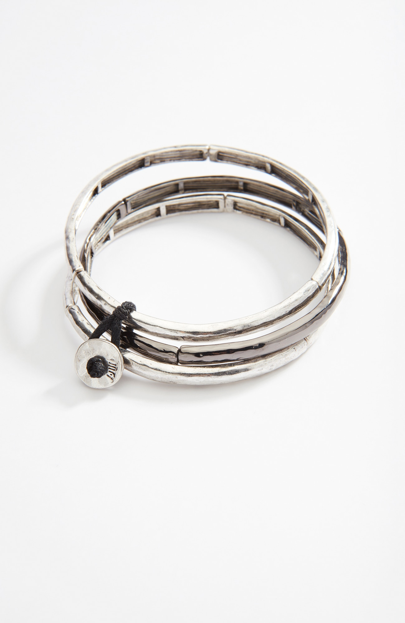 mixed-metal bangle stack