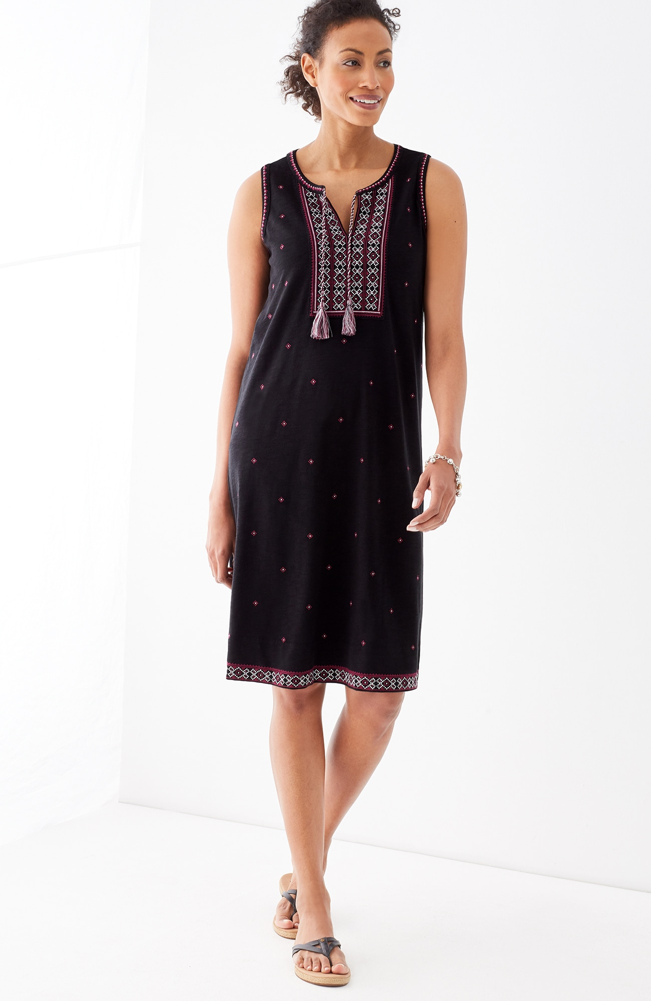 embroidered sleeveless knit dress