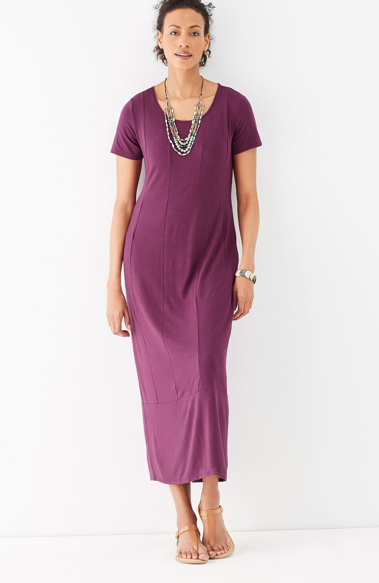 seamed knit maxi dress