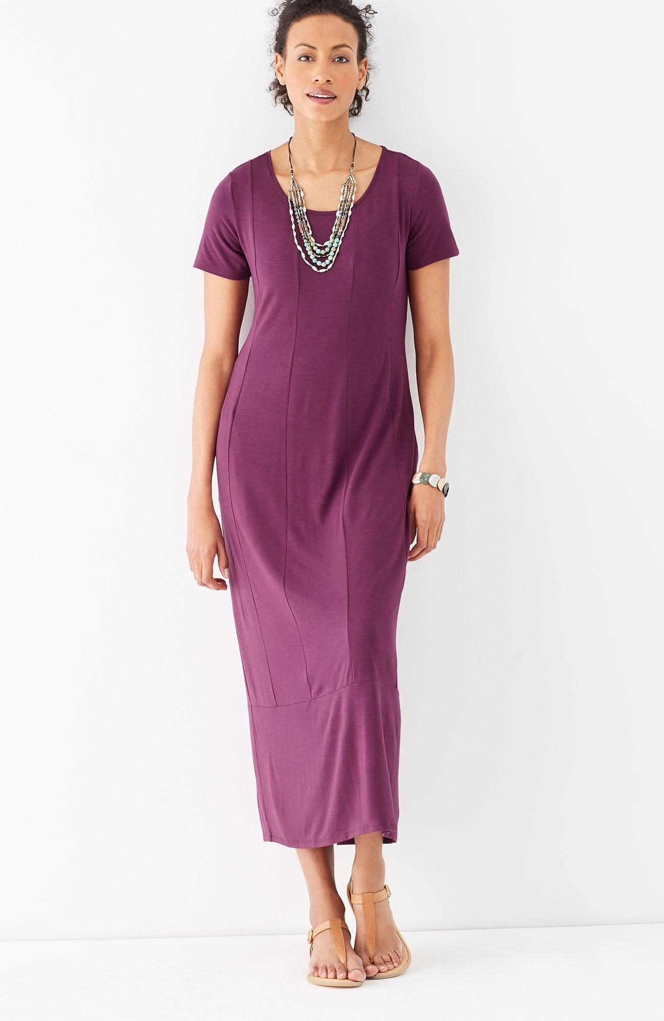 seamed knit maxi dress