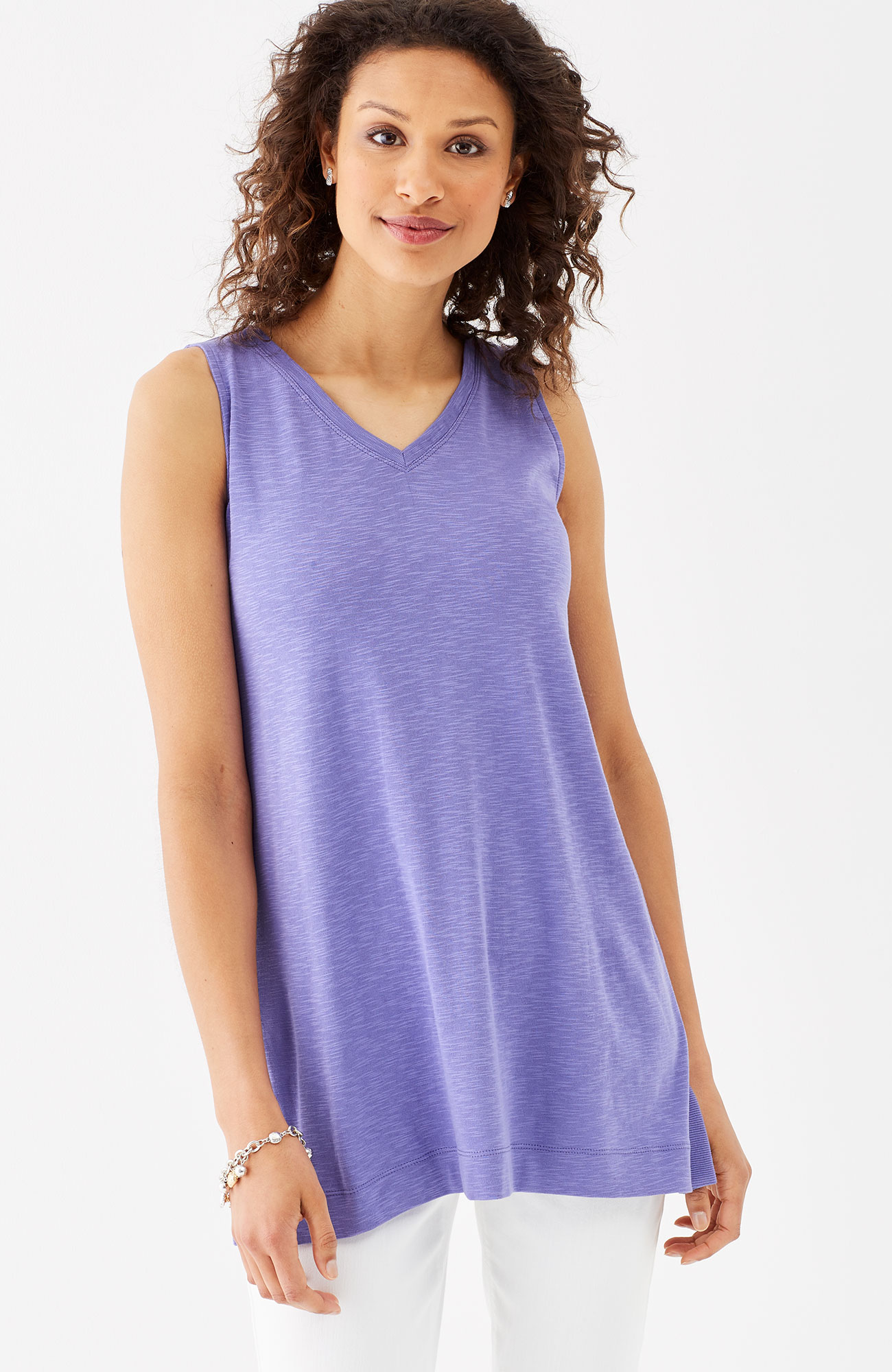 pima V-neck sleeveless tunic